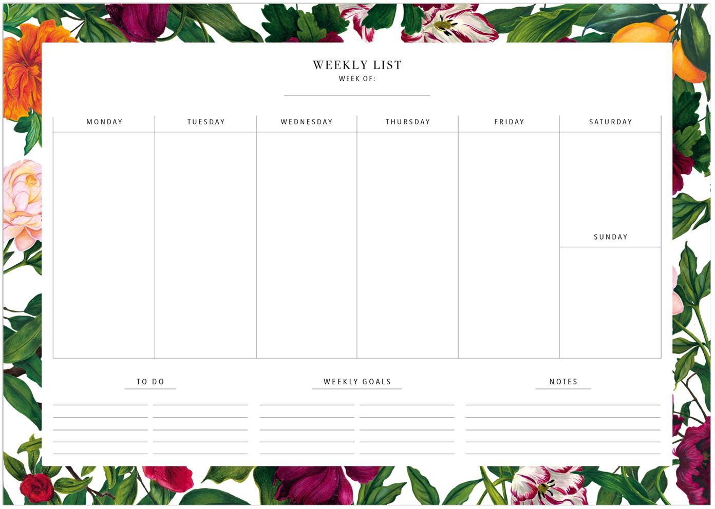 Planer tygodniowy The English Garden, Papier, Wielobarwny, S 30 x W 21 cm