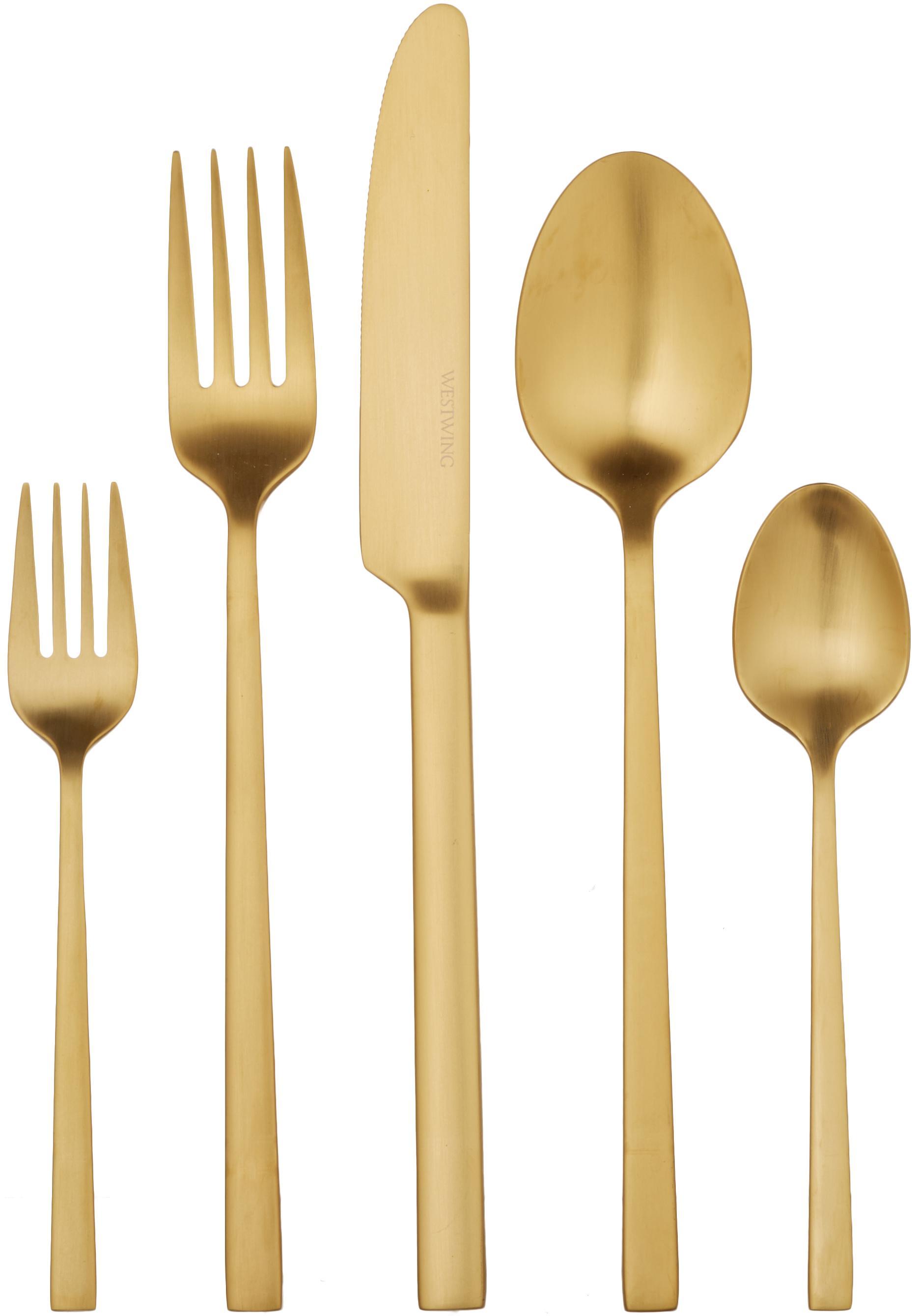 Komplet sztućców  ze stali szlachetnej Shine, Odcienie złotego, 1 osoba (5 elem.)
