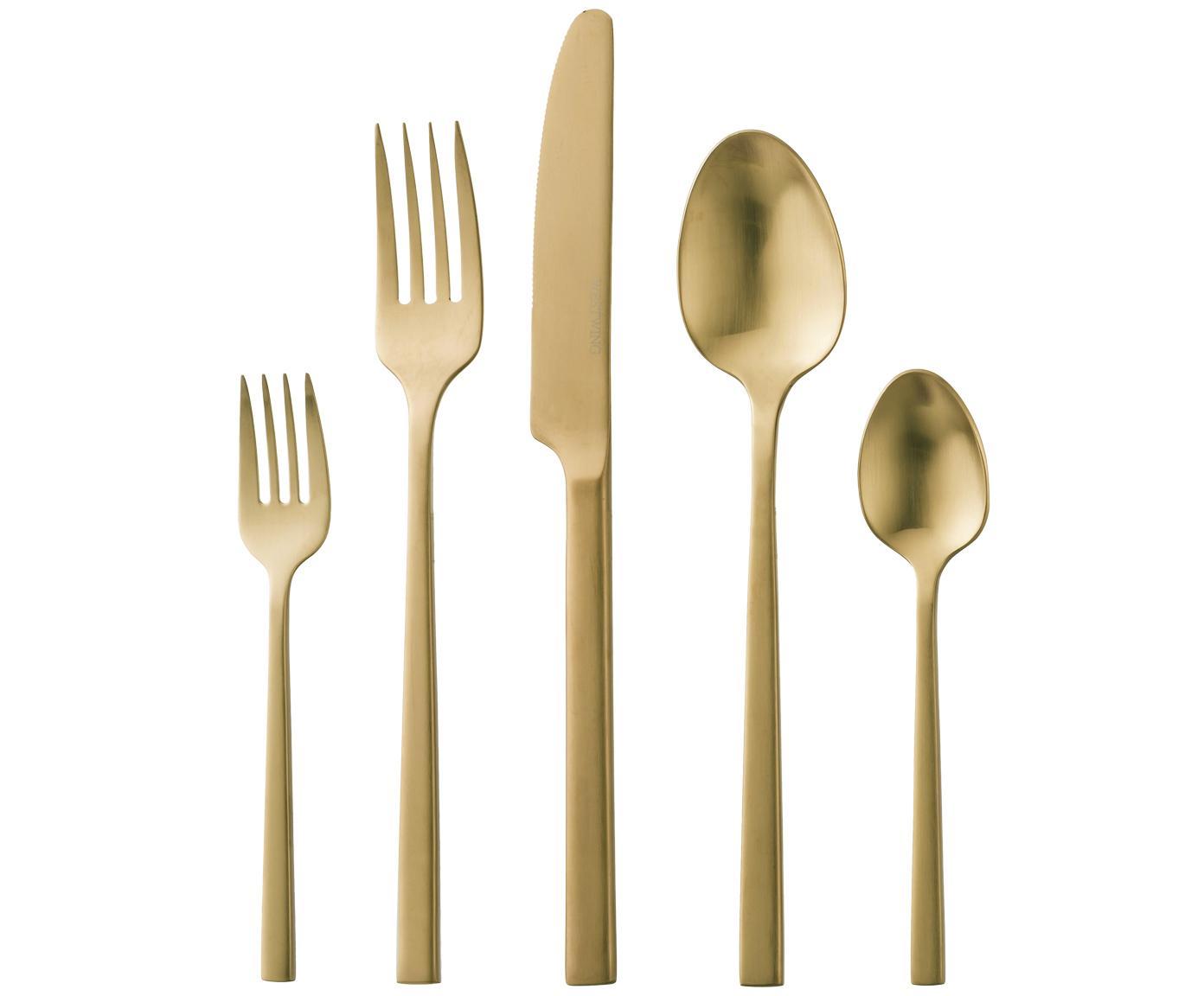 Goldfarbenes Besteck-Set Shine aus Edelstahl, in verschiedenen Setgrößen, Messer: Edelstahl 13/0, Goldfarben, 5-tlg.