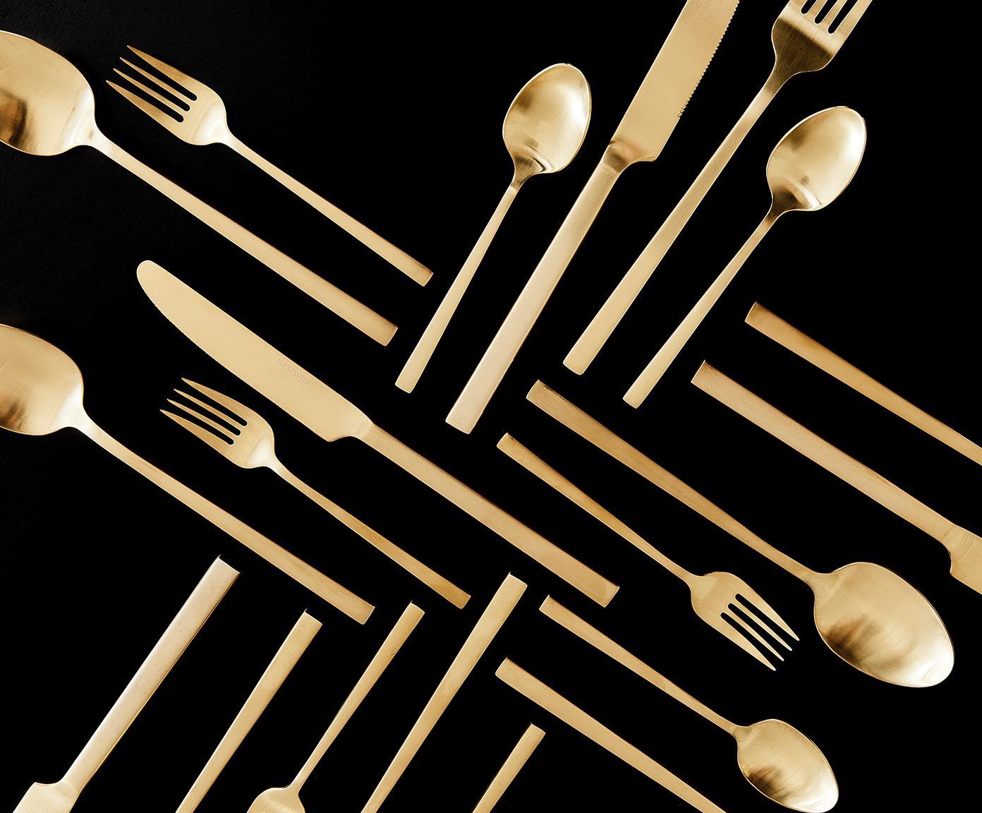 Goudkleurige bestekset Shine van edelstaal, in verschillende maten, Goudkleurig, 1 persoon (5-delig)