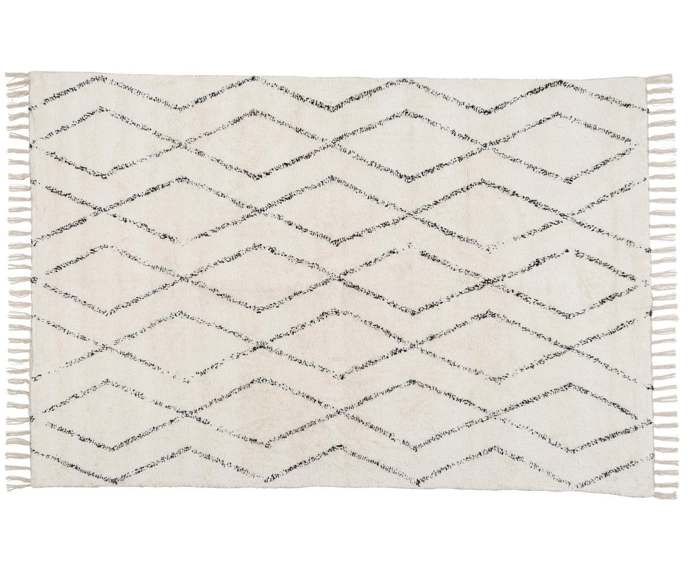 Handgewebter Teppich Berber mit Fransen, 100% Baumwolle, Grau, Cremeweiss, B 140 x L 200 cm (Grösse S)