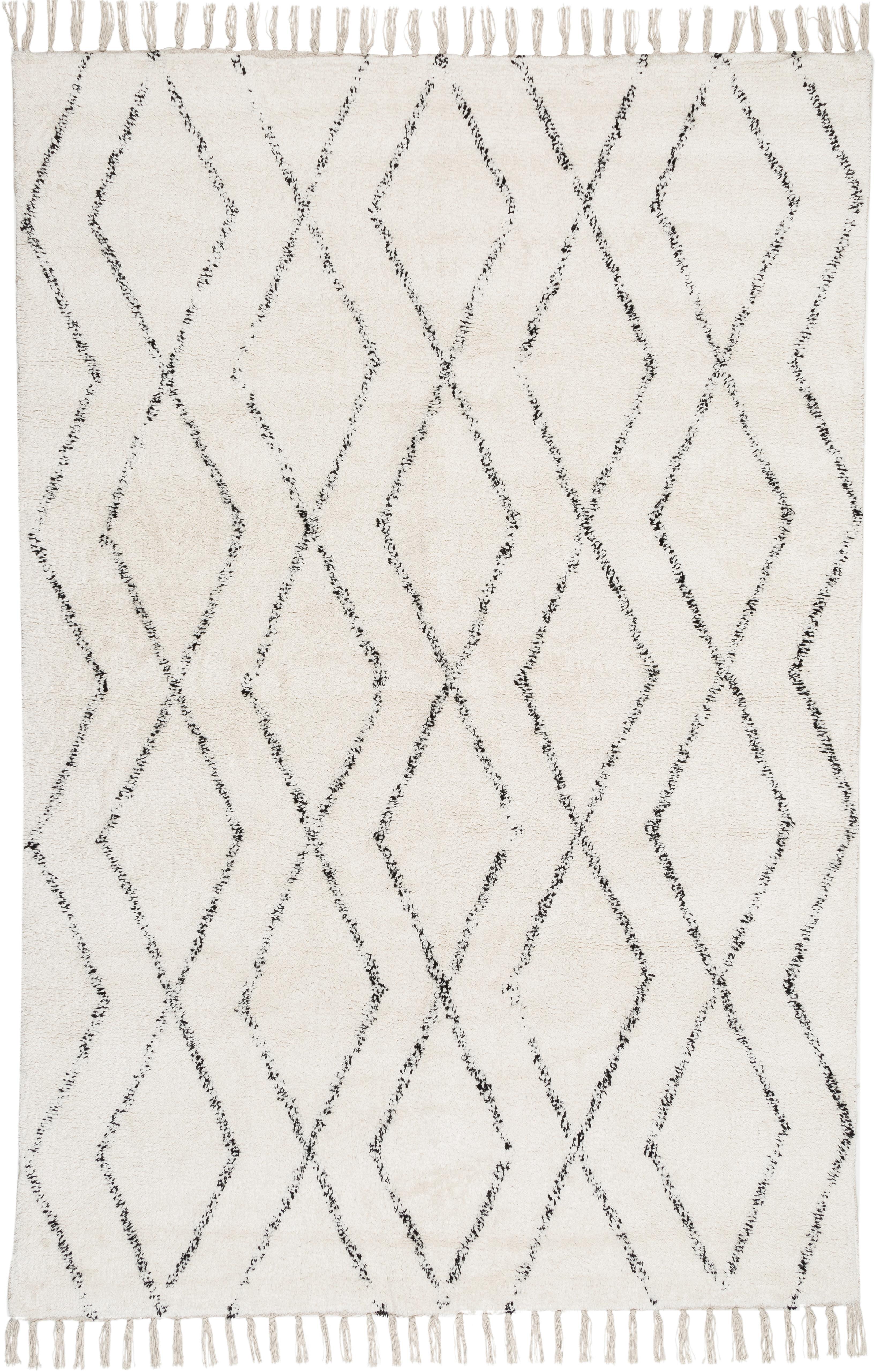 Handgeweven vloerkleed Berber met franjes, 100% katoen, Grijs, crèmewit, 140 x 200 cm