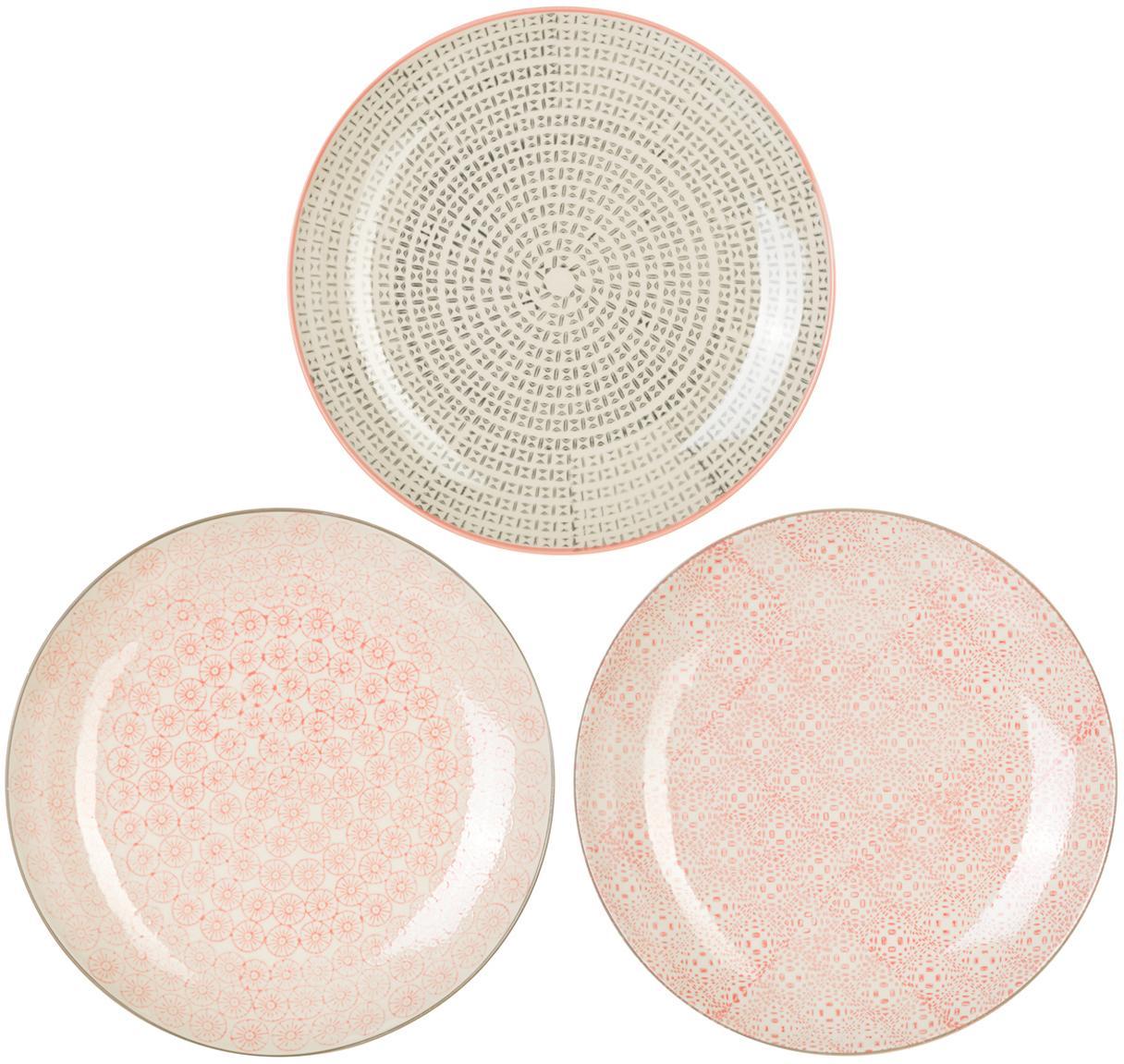 Speiseteller Cécile mit kleinem Muster, 3er-Set, Steingut, Mehrfarbig, Ø 25 cm
