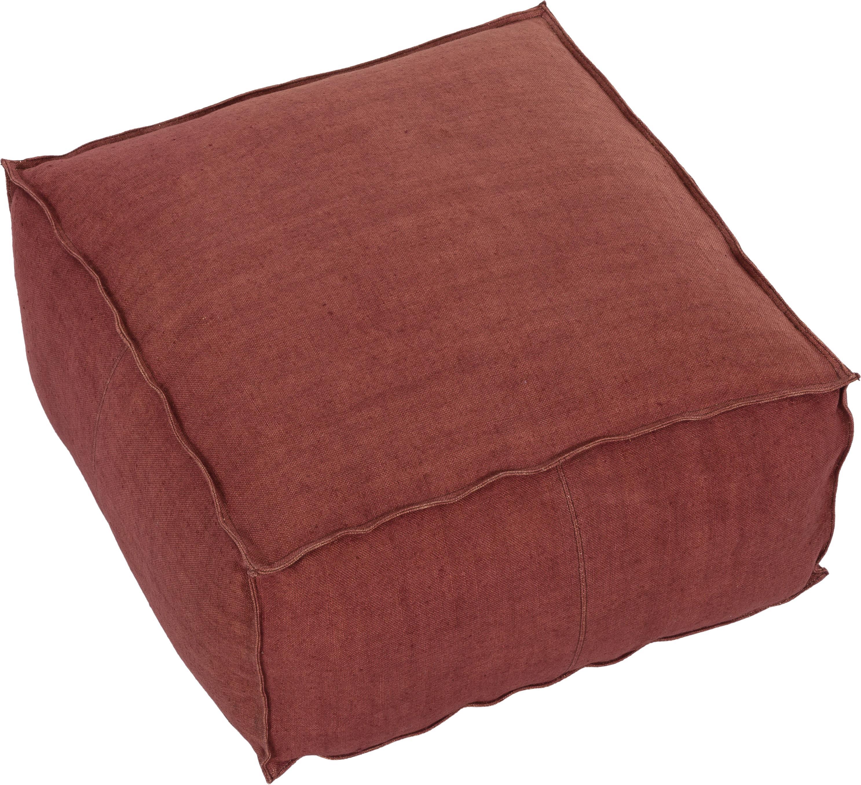Cuscino da pavimento in lino fatto a mano Zafferano, Rivestimento: lino, Rosso ruggine, Larg. 70 x Alt. 30 cm