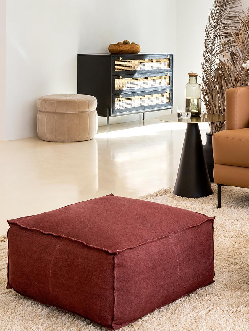 Ręcznie wykonana poduszka podłogowa z lnu Saffron, Tapicerka: len, Rudy, S 70 x W 30 cm