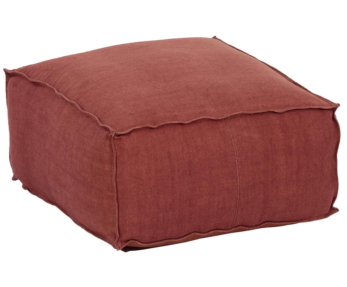 Handgemaakt linnen vloerkussen Saffron, Bekleding: linnen, Onderzijde: katoen, Roodbruin, 50 x 25 cm