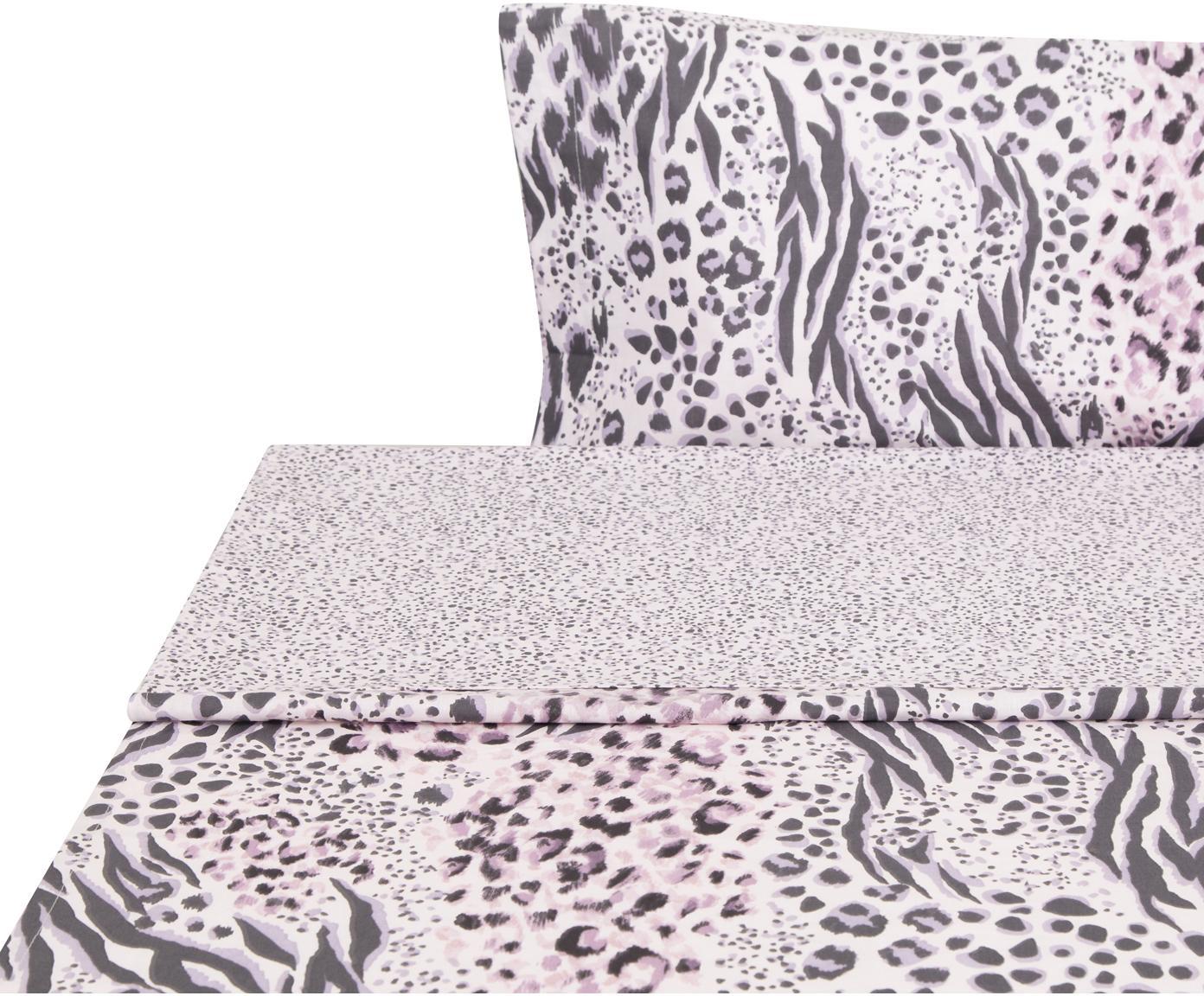 Sábana encimera Savannah, Algodón, Tonos rosas, negro, Cama 90 cm (240 x 270 cm)