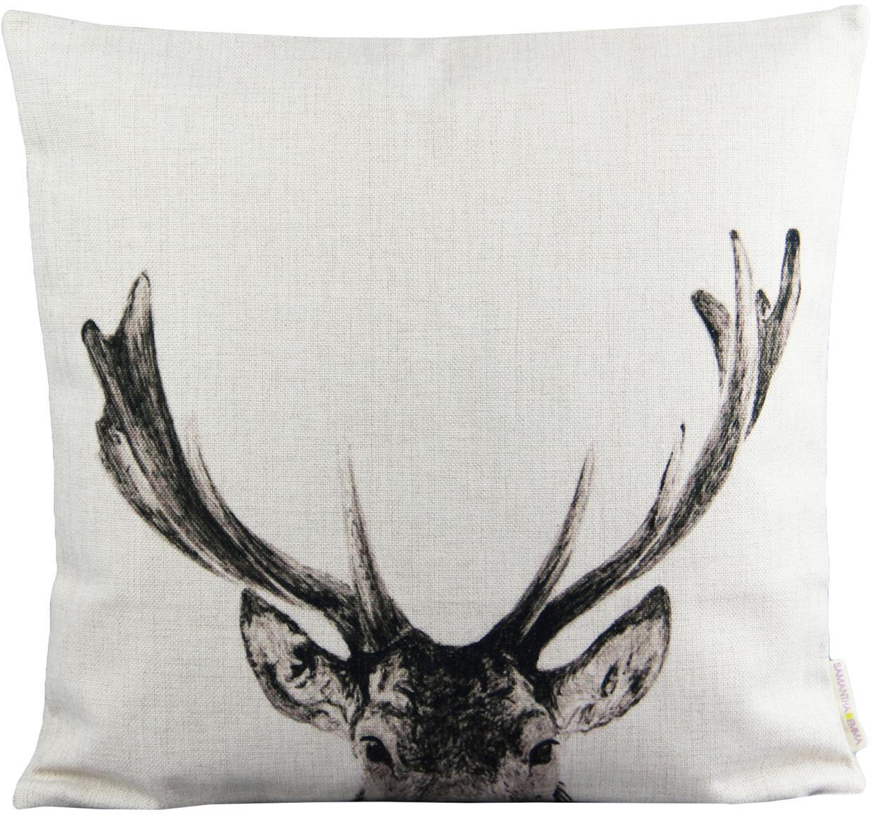 Linnen kussenhoes Reindeer, Linnen, Gebroken wit, zwart, 45 x 45 cm