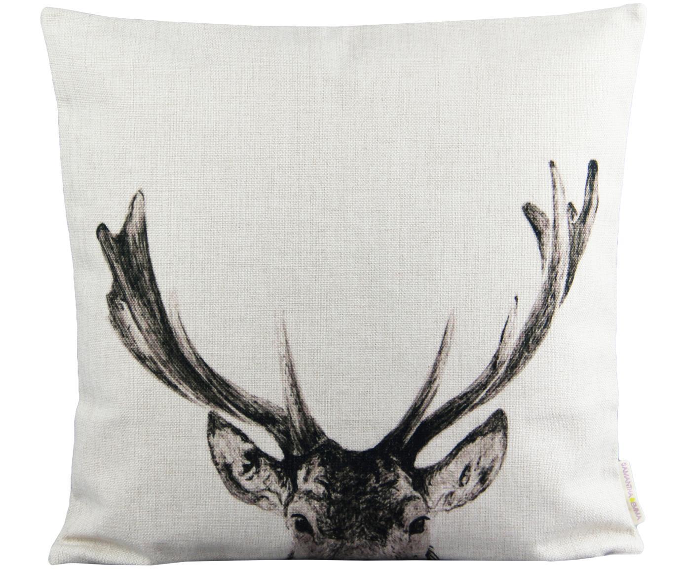 Poszewka na poduszkę z lnu Reindeer, Len, Złamana biel, czarny, S 45 x D 45 cm