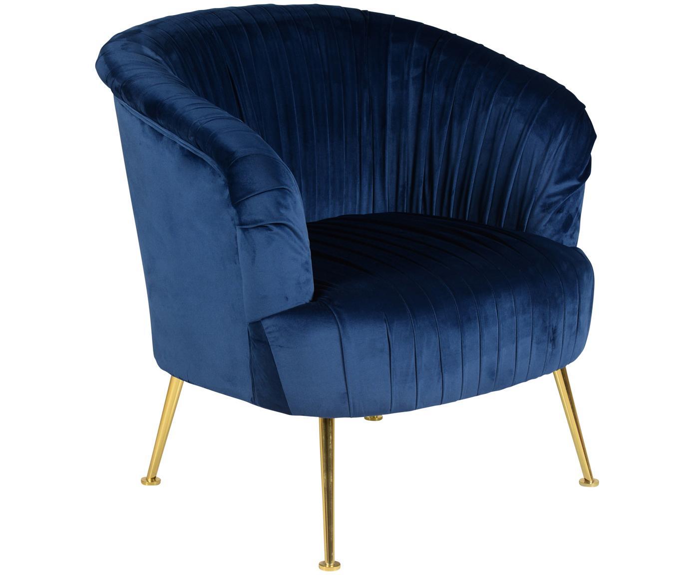 Poltrona in velluto in blu Diva, Rivestimento: velluto di poliestere 85., Gambe: metallo verniciato, Velluto blu scuro, Larg. 73 x Prof. 83 cm