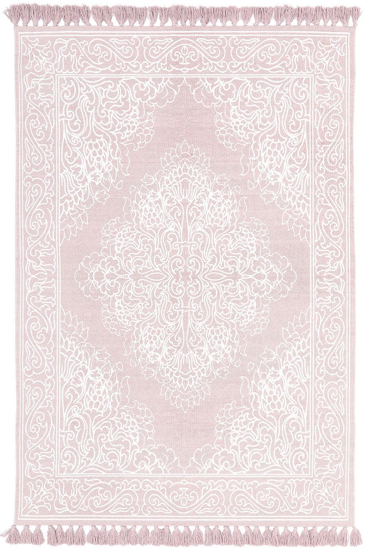 Katoenen vloerkleed Salima met kwastjes, handgeweven, Katoen, Roze, crèmewit, B 50 x L 80 cm (maat XXS)