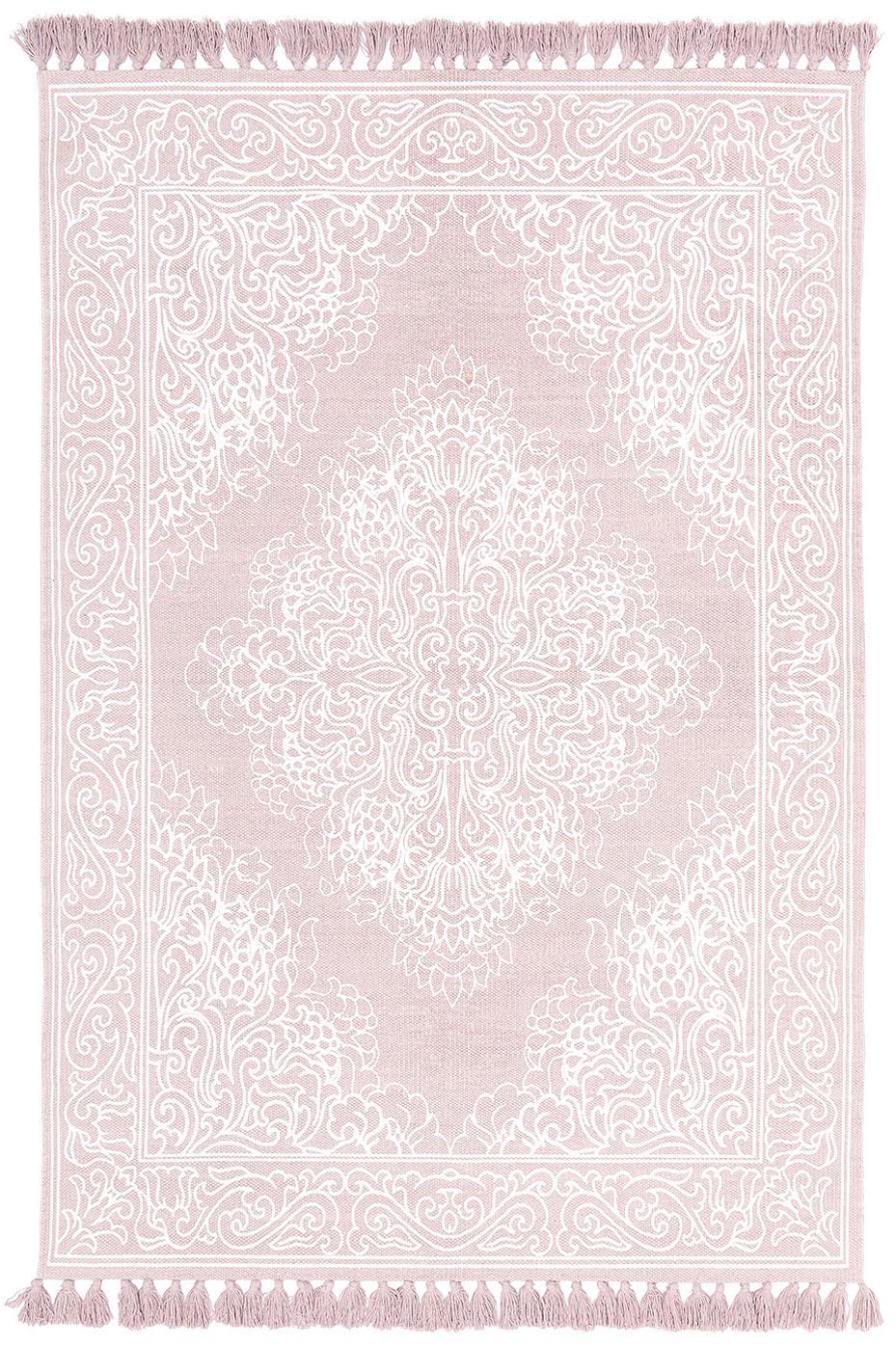 Alfombra artesanal de algodón con borlas Salima, 100%algodón, Rosa, blanco crema, An 50 x L 80 cm (Tamaño XXS)