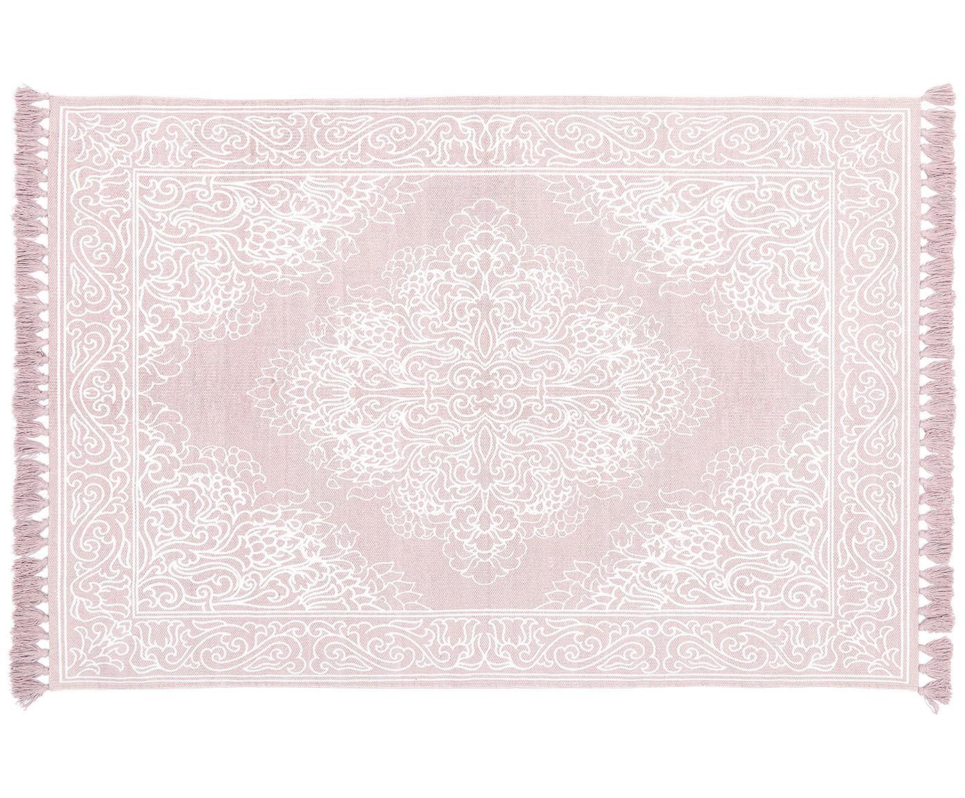 Tappeto in cotone tessuto a mano Salima, Cotone, Rosa, bianco crema, Larg. 50 x Lung. 80 cm (taglia XXS)