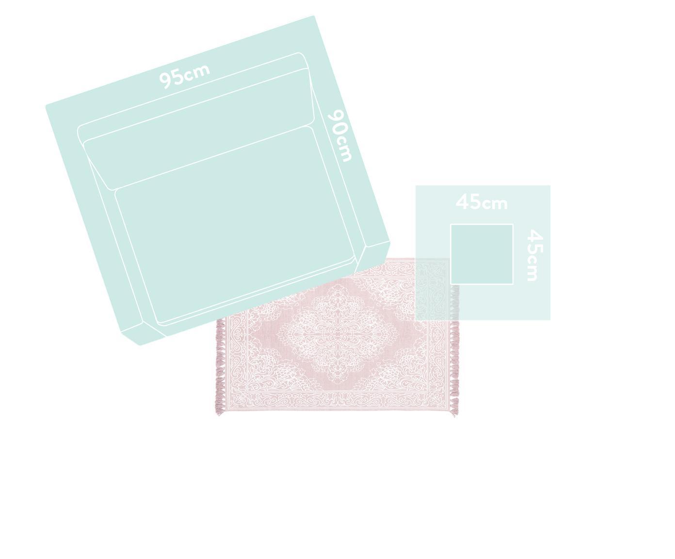 Ručně tkaný bavlněný koberec se střapci Salima, Růžová, krémově bílá