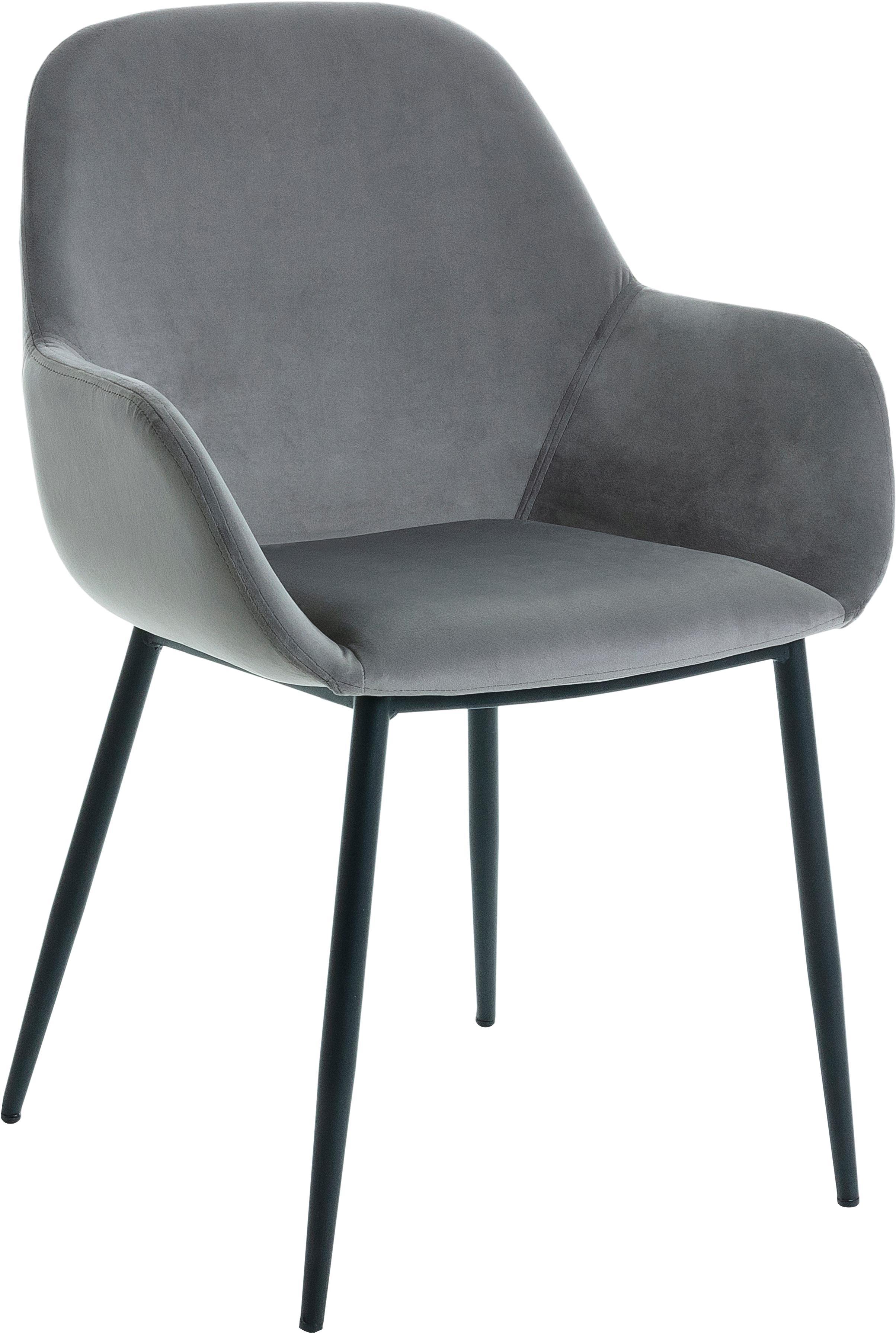 Samt-Armlehnstühle Kona, 2 Stück, Bezug: Polyestersamt 50.000 Sche, Beine: Metall, lackiert, Grau, B 59 x T 56 cm