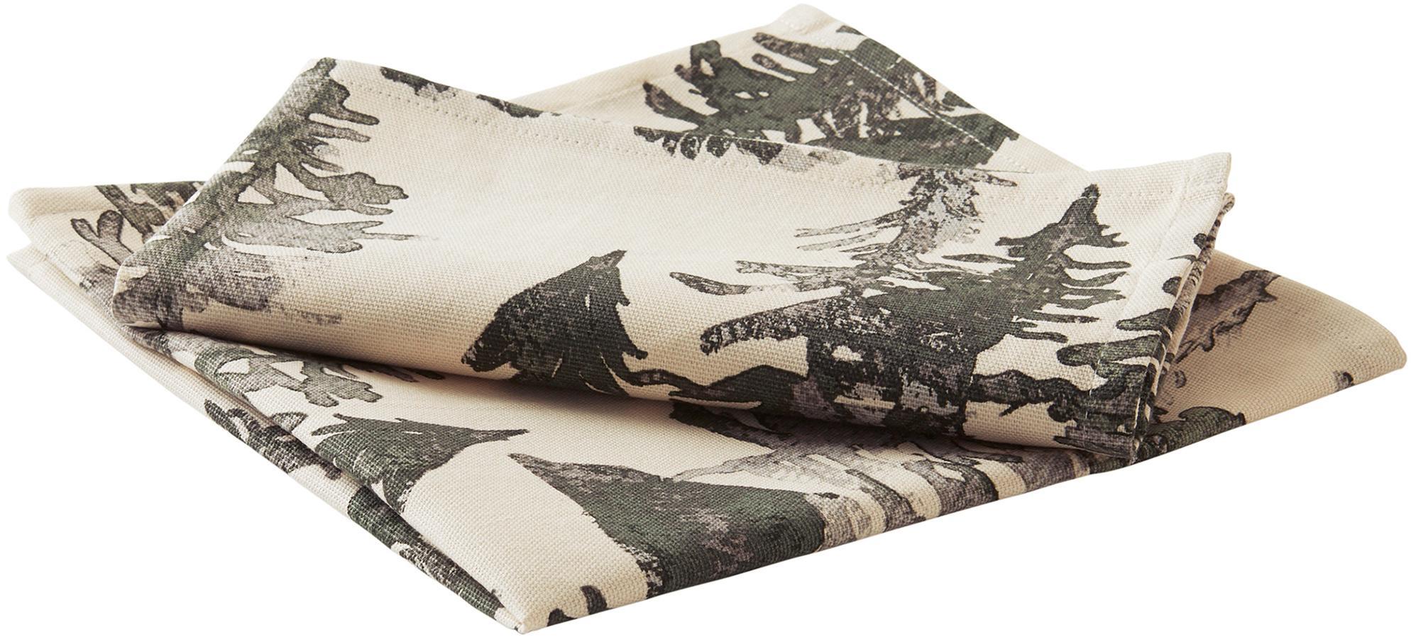 Katoenen servetten Forrest, 2 stuks, 100% katoen, afkomstig van duurzame katoenteelt, Crèmekleurig, groen- en grijstinten, 45 x 45 cm