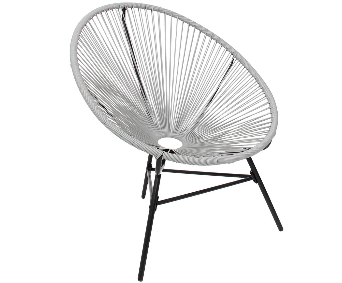 Retro fauteuil Bahia, Frame: Metaal, Zitvlak: Polyethyleen-vlechtwerk, Vlechtwerk: Grijs. Frame: Zwart, 81 x 88 cm