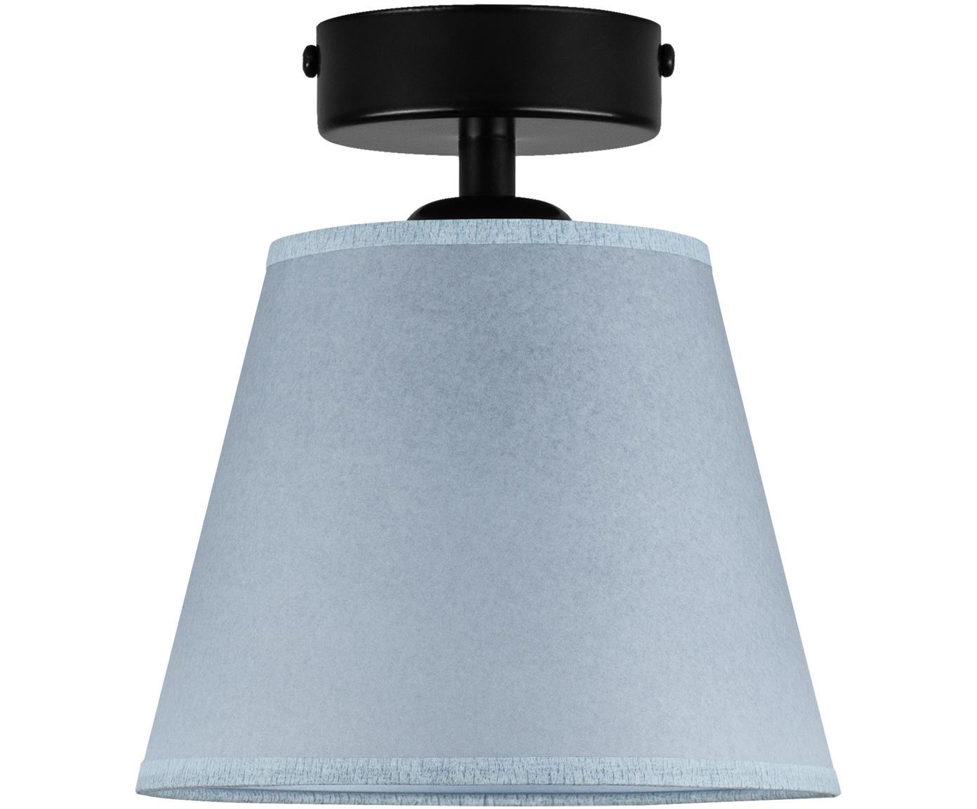 Kleine plafondlamp Iro van papier, Lampenkap: papier, Baldakijn: gepoedercoat metaal, Blauw, zwart, Ø 16 x H 18 cm