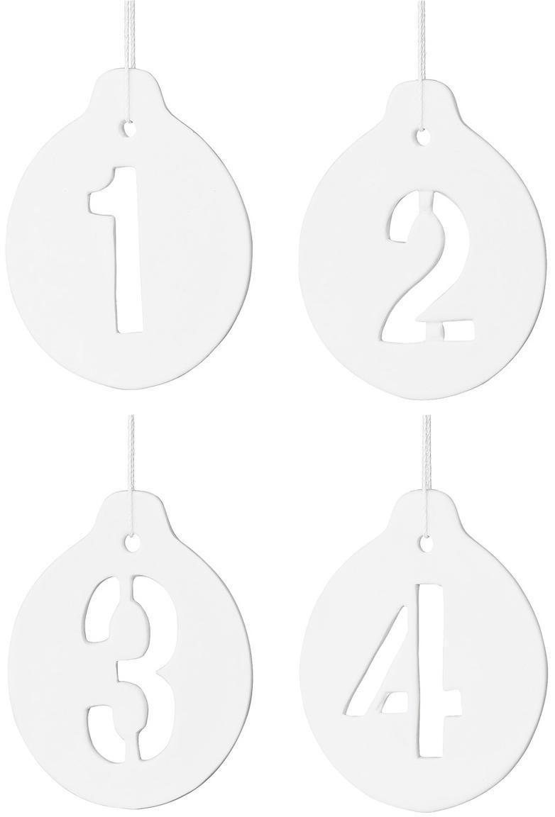 Kerstoomhangersset Advent, 4-delig, Keramiek, Wit, 7 x 9 cm