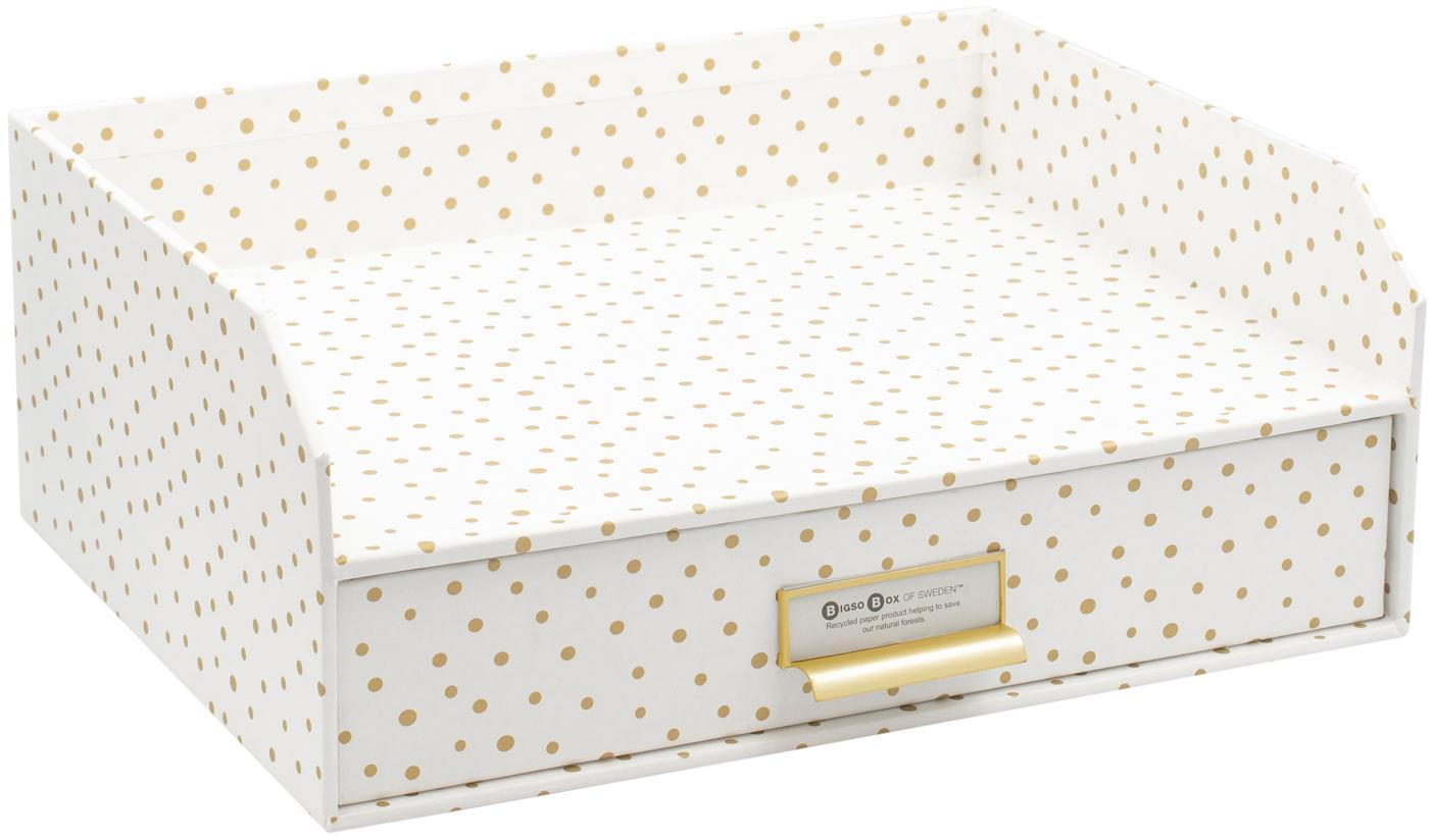 Organizador de escritorio Walter, Organizador: cartón laminado, Blanco, dorado, An 33 x Al 13 cm