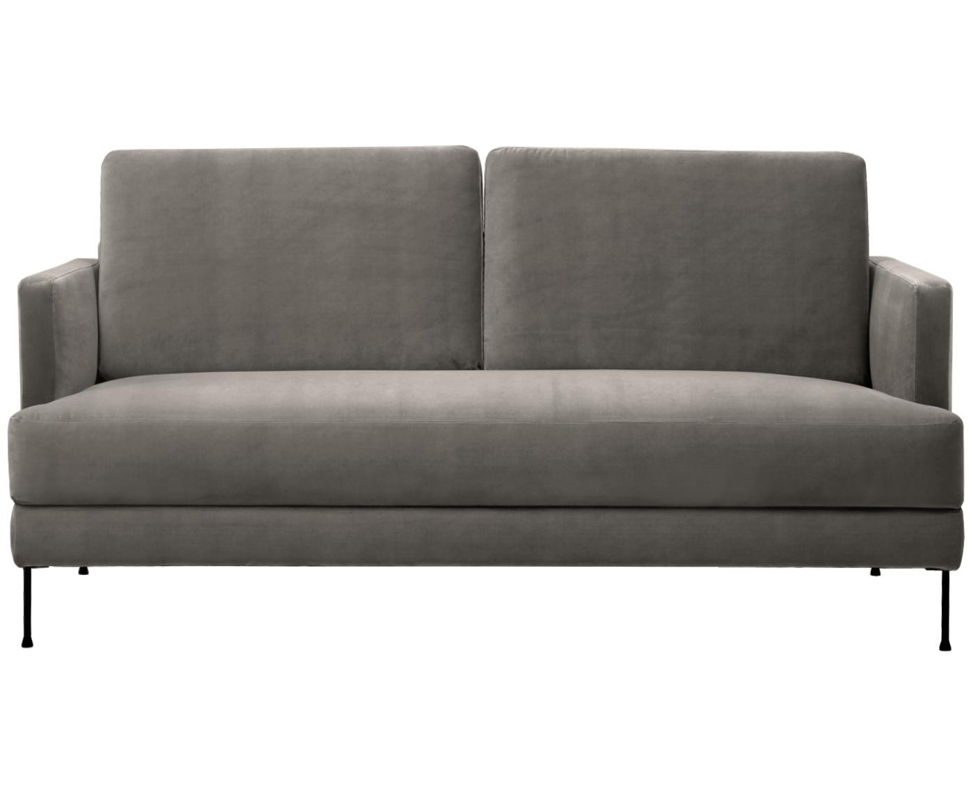 Sofa z aksamitu Fluente (2-osobowa), Tapicerka: aksamit (wysokiej jakości, Stelaż: lite drewno sosnowe, Nogi: metal lakierowany, Aksamitny szarobrązowy, S 168 x G 83 cm