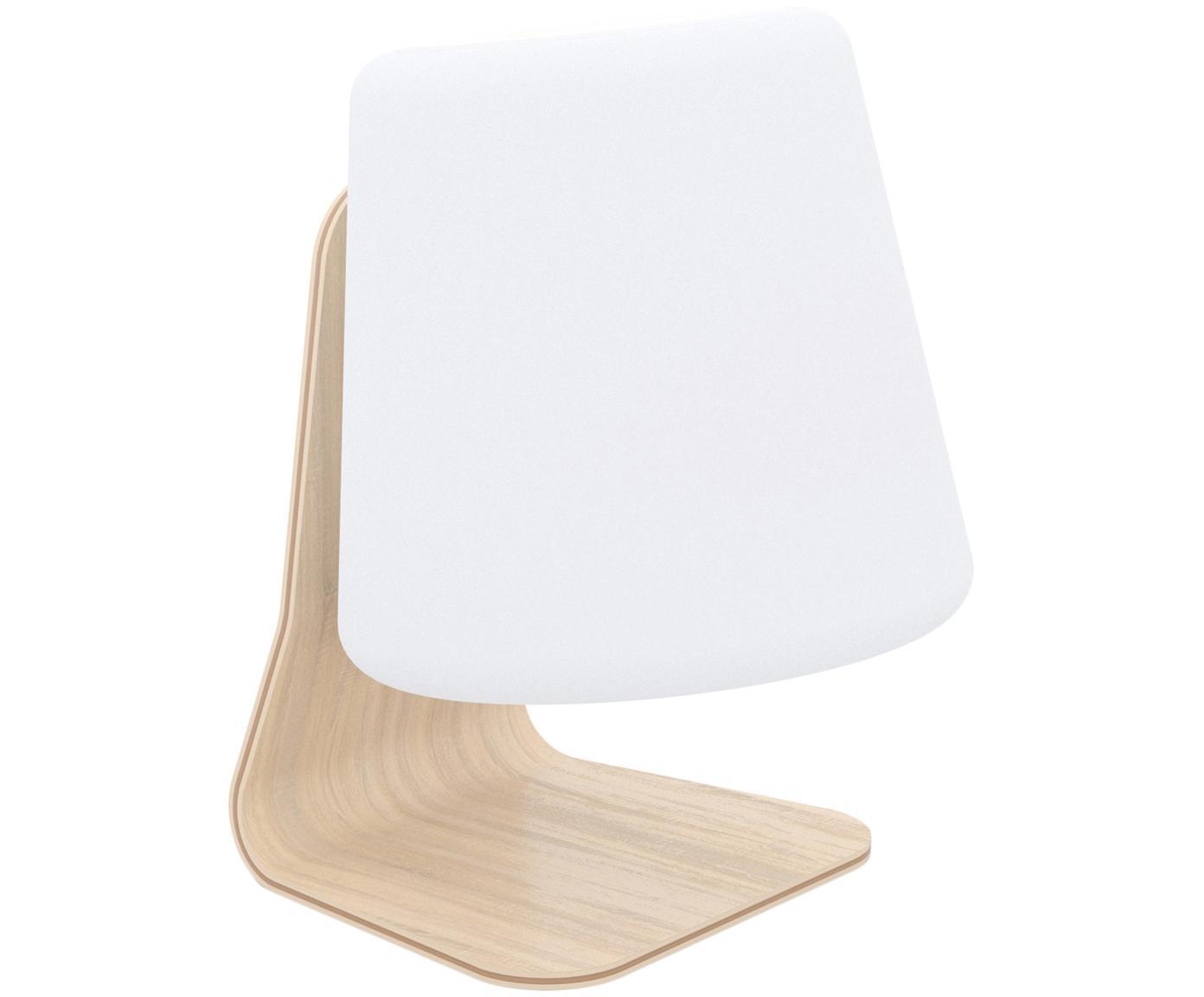 Mobiele outdoor LED lamp met luidspreker Table, Lampenkap: kunststof, Lampvoet: iepenhout met berkenhoutf, Wit, lichtbruin, 22 x 29 cm