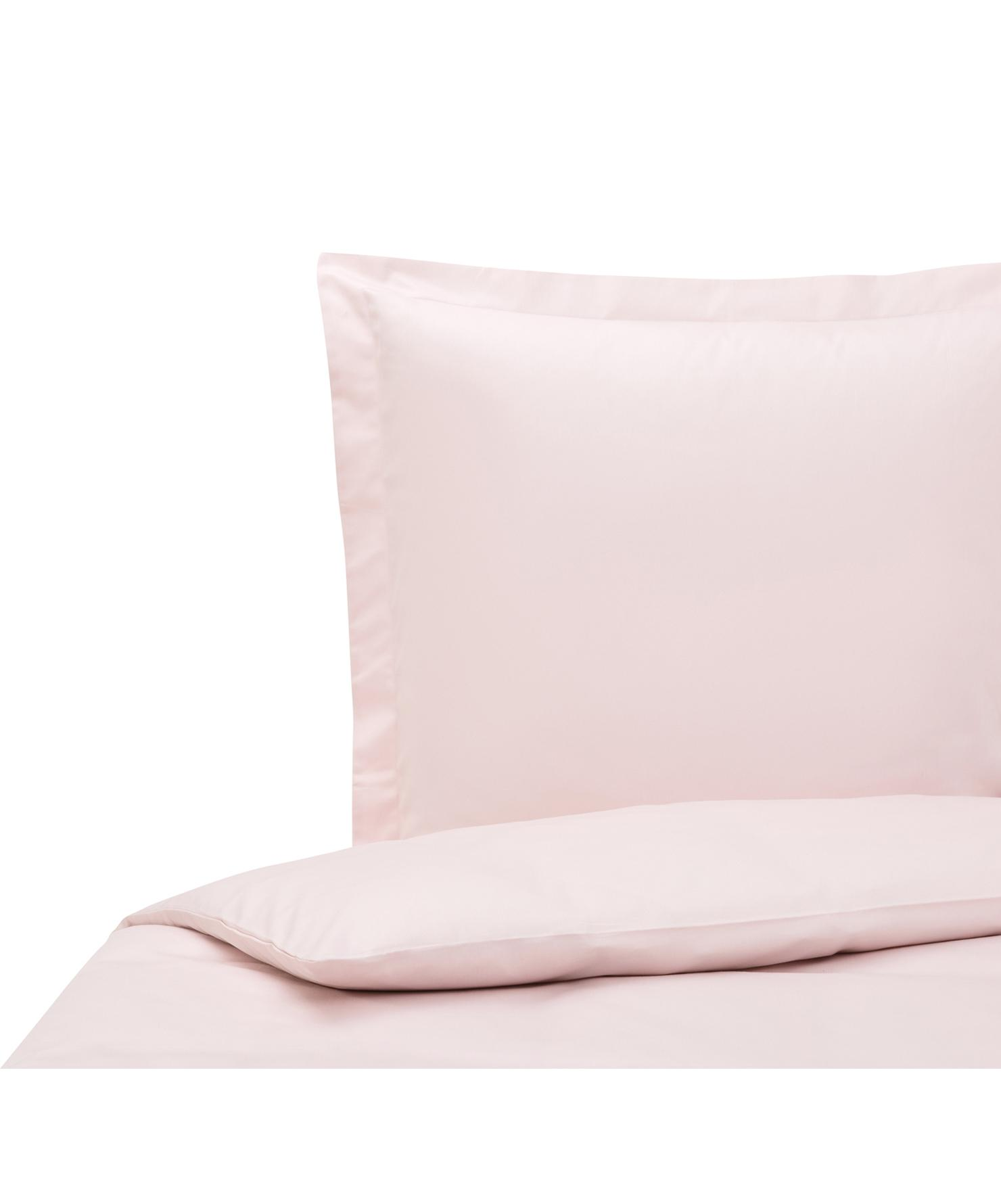 Funda nórdica de satén Premium, Rosa, Cama 90 cm (150 x 200 cm)