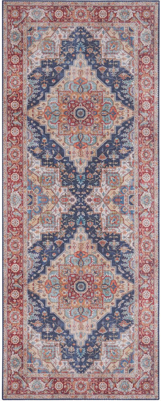 Alfombra Sylla, estilo vintage, Azul, rojo, An 80 x L 200 cm