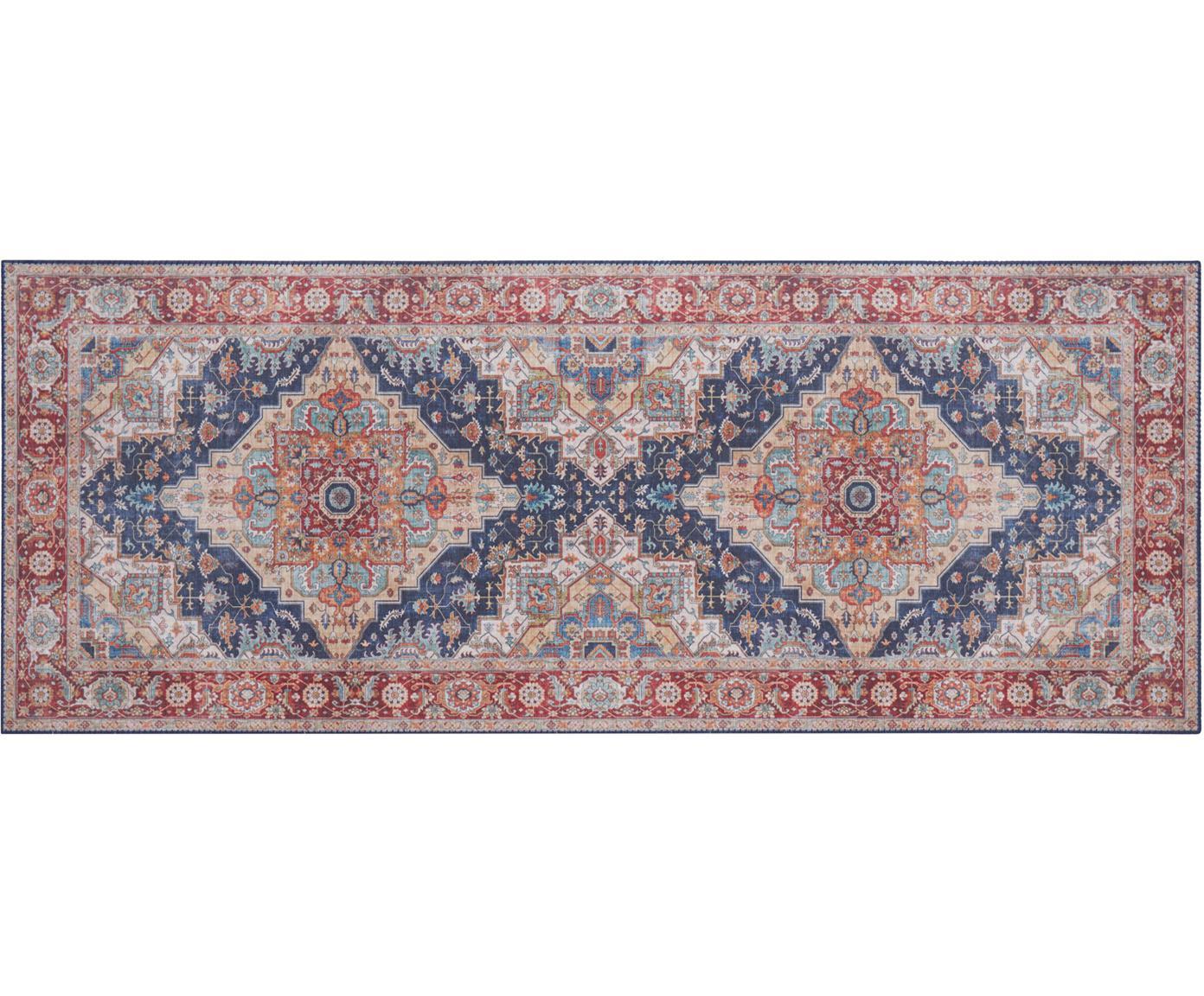 Loper Sylla in vintage stijl, Polyester, Blauw, rood, 80 x 200 cm