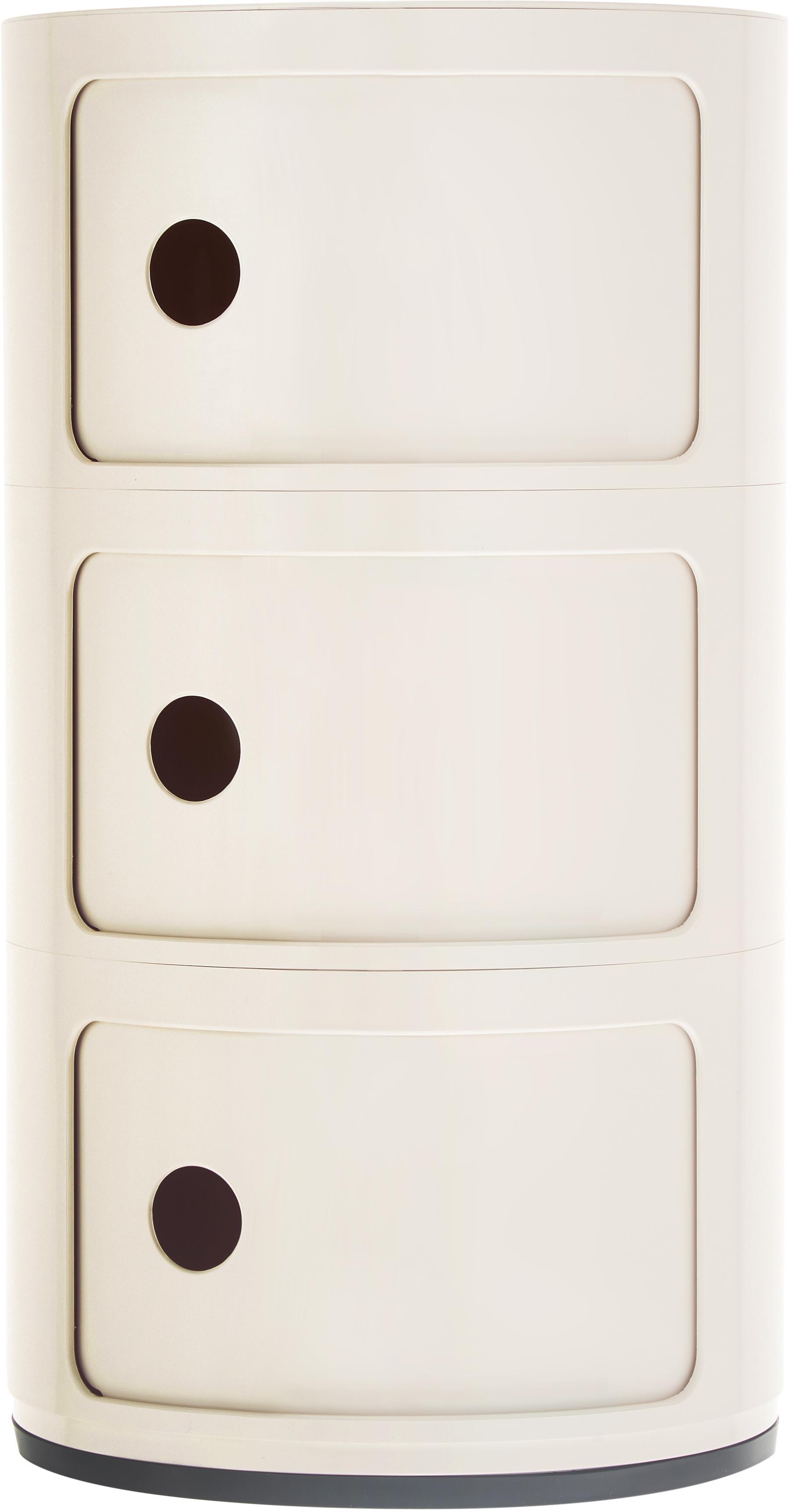 Design bijzettafel Componibile, Gelakt kunststof (ABS), Mat wit, Ø 32 x H 59 cm