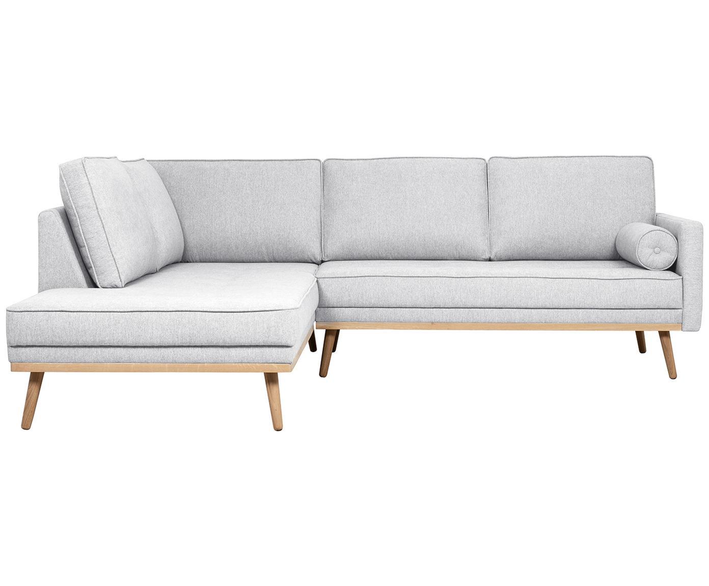 Hoekbank Saint (3-zits), Bekleding: polyester, Frame: massief grenenhout, spaan, Lichtgrijs, 243 x 70 cm