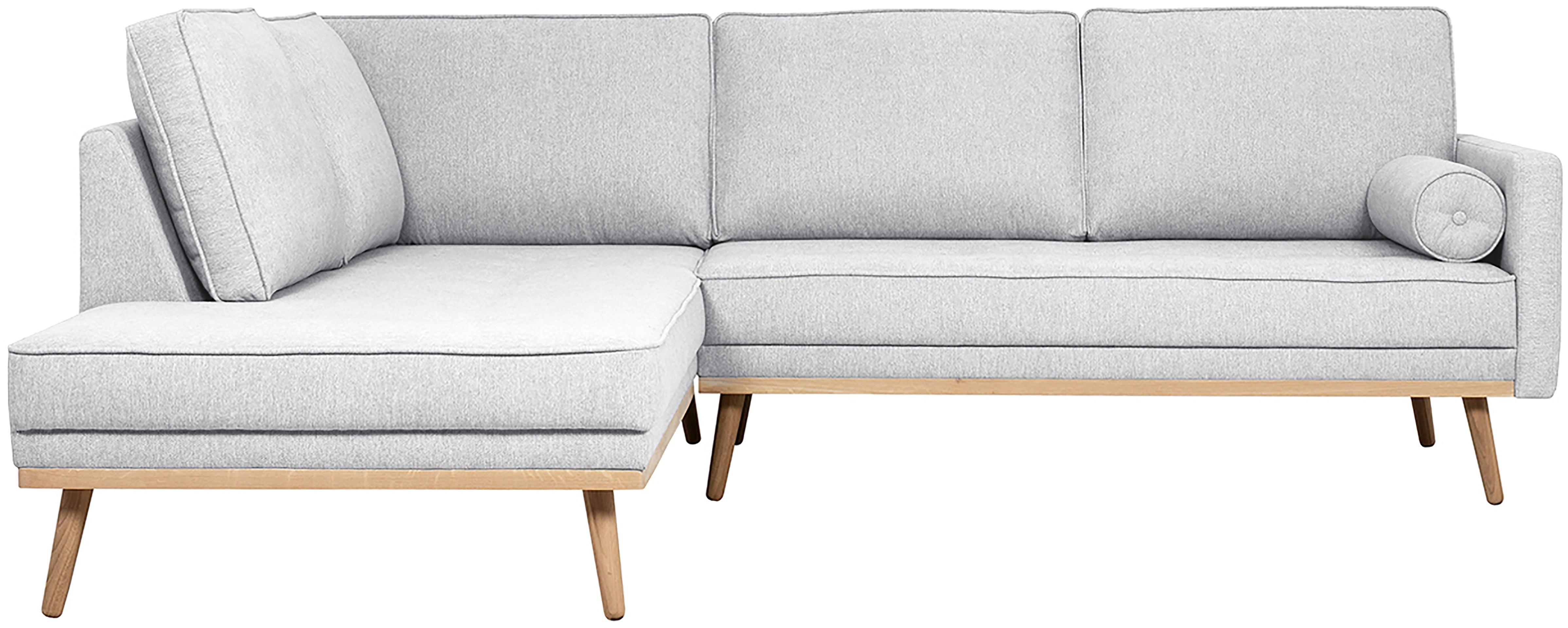 Sofa narożna Saint (3-osobowa), Tapicerka: poliester 50000 cykli w , Stelaż: lite drewno sosnowe, płyt, Jasny szary, S 243 x W 70 cm