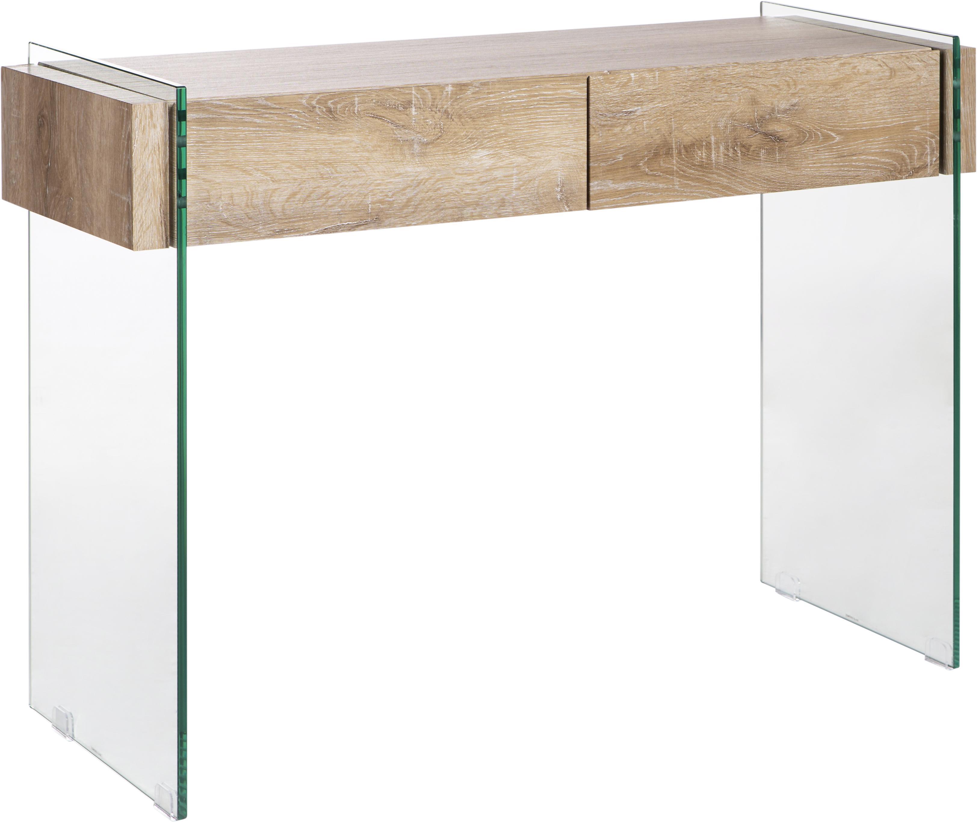 Consola Kenya, Estructura: tablero de fibras de dens, Patas: vidrio, Transparente, blanco, An 110 x Al 75 cm