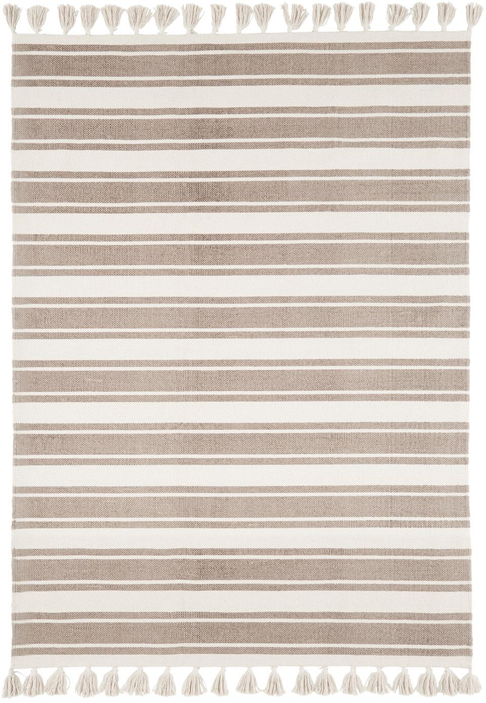 Gestreifter Baumwollteppich Vigga mit Quasten, handgewebt, Taupe, Beige, B 120 x L 180 cm (Größe S)
