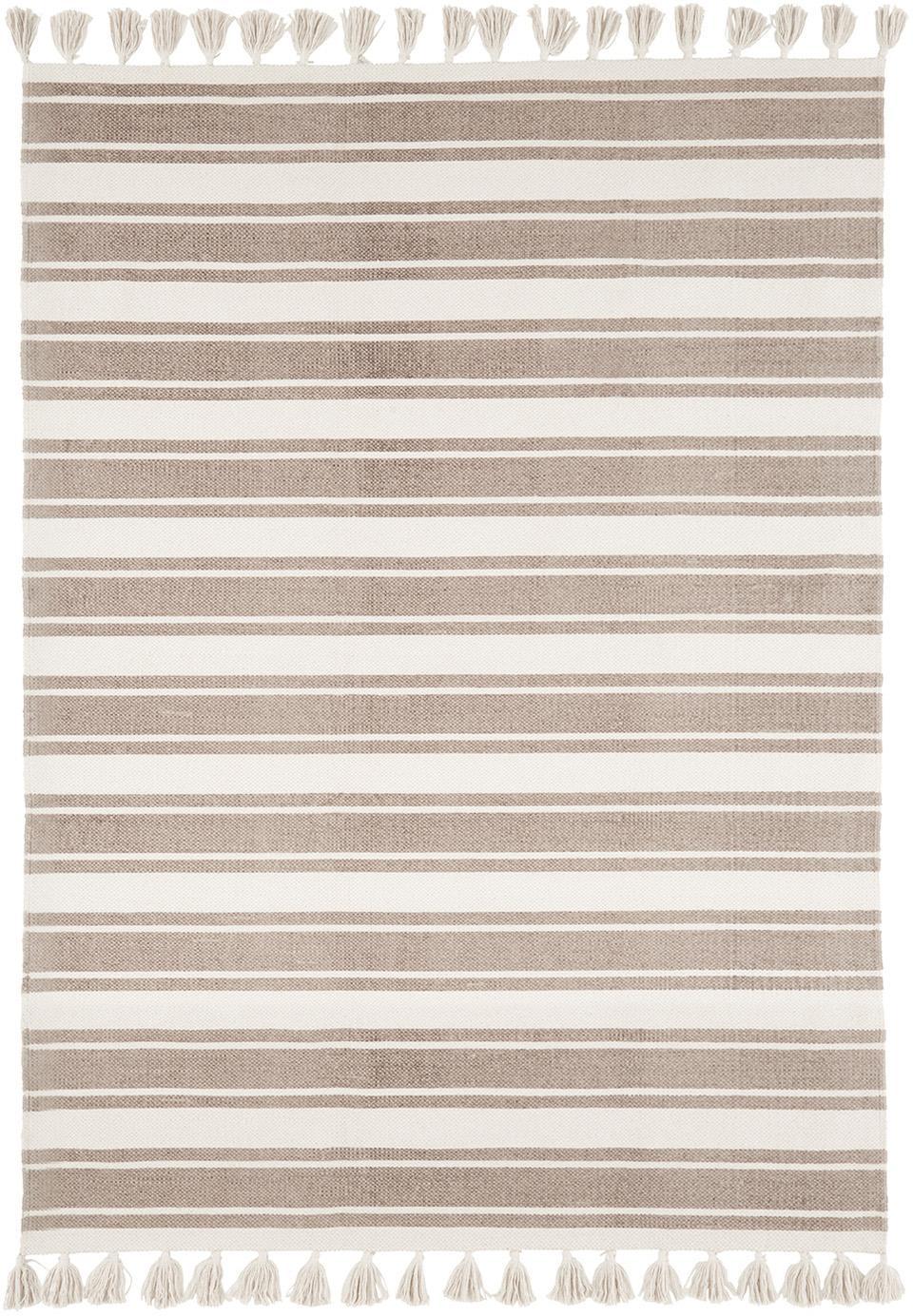 Gestreepte katoenen vloerkleed Vigga met kwastjes, handgeweven, Taupe, beige, 120 x 180 cm