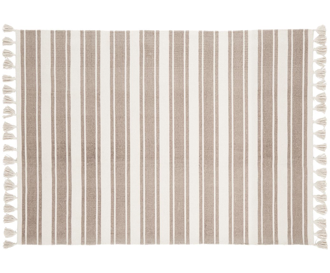 Alfombra artesanal de algodón Vigga, Gris pardo, beige, An 120 x L 180 cm (Tamaño S)