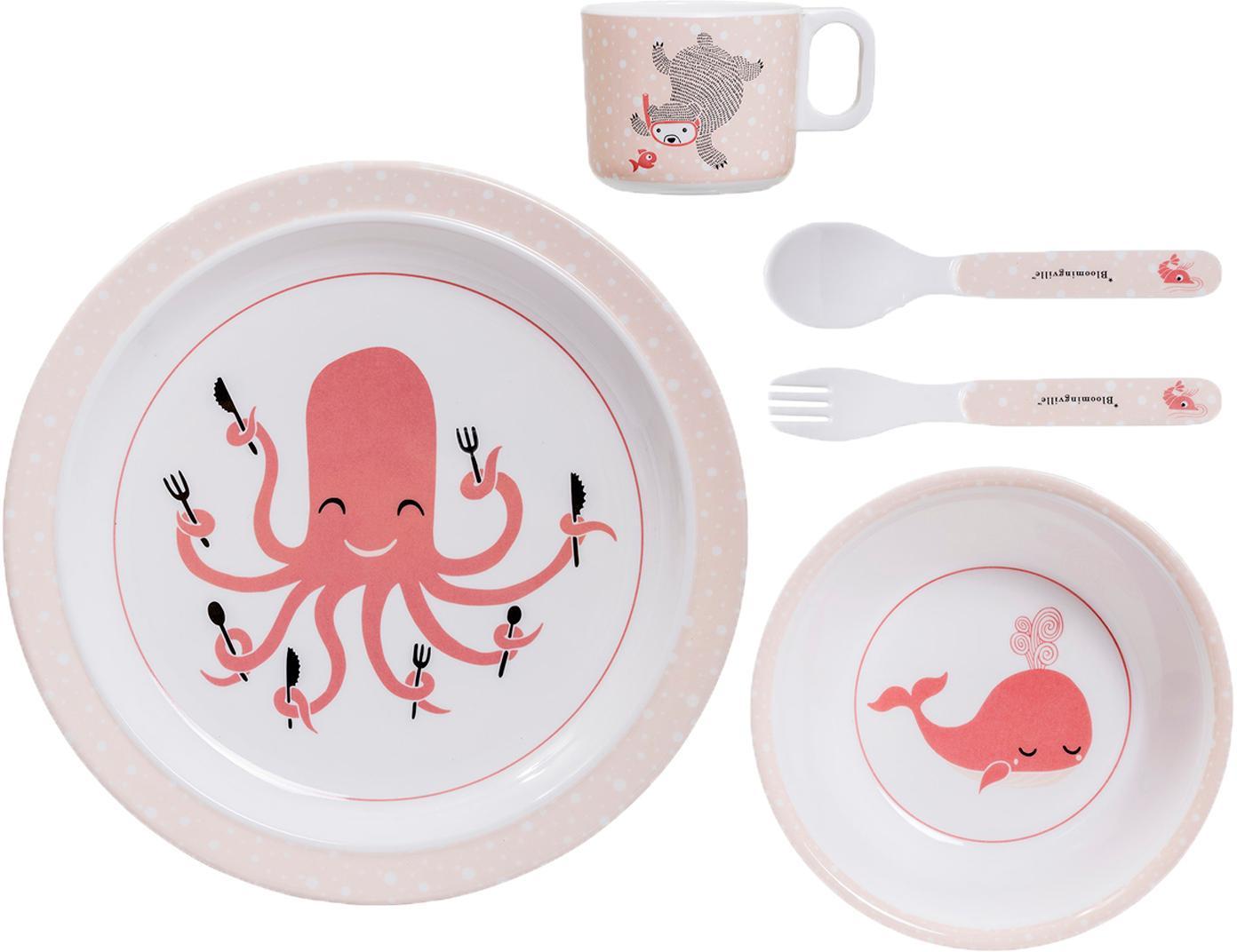 Set piatti Ida, 5 pz., Melamina, Tonalità rosa, bianco, nero, Diverse dimensioni