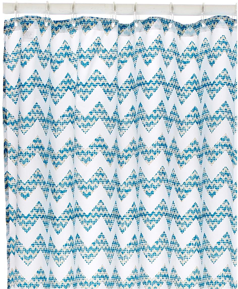 Tenda da doccia con motivo a zigzag Cassie, 100% poliestere stampato Idrorepellente non impermeabile, Blu, bianco, Larg. 180 x Lung. 200 cm