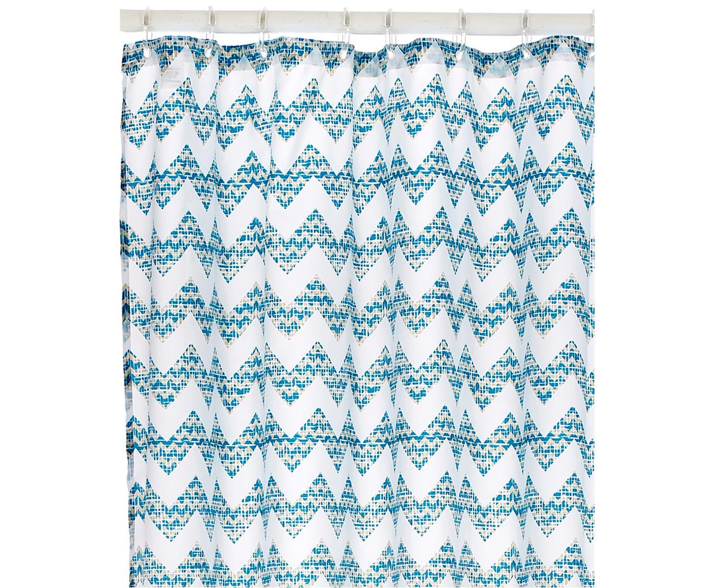 Douchegordijn Cassie met zigzag patroon, Oogjes: metaal, Petrolkleurig, wit, 180 x 200 cm