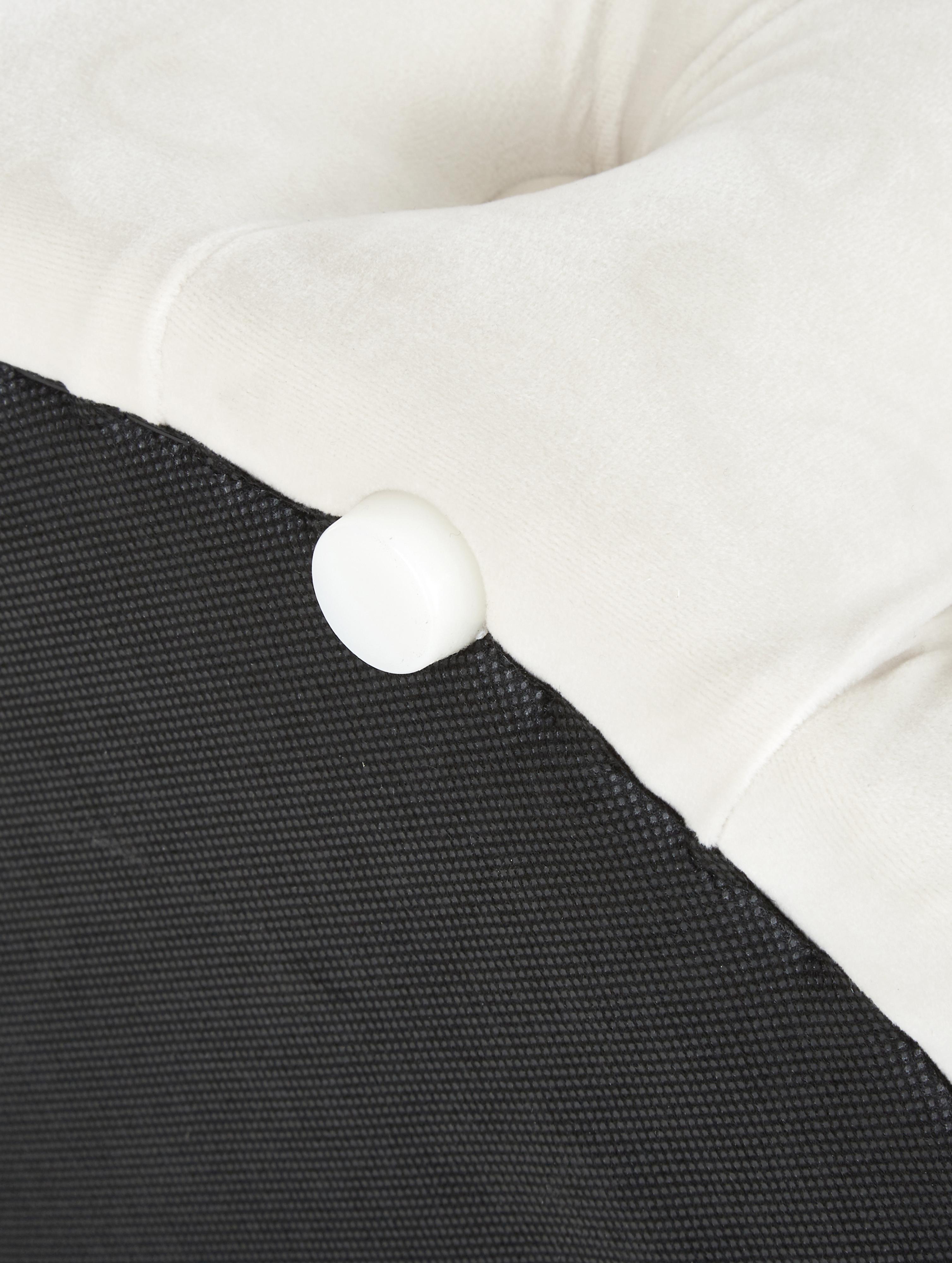 Samt-Hocker Chiara mit Stauraum, Bezug: Samt (Polyester) 20.000 S, Korpus: Eukalyptusholz, Cremeweiß, Ø 50 x H 40 cm