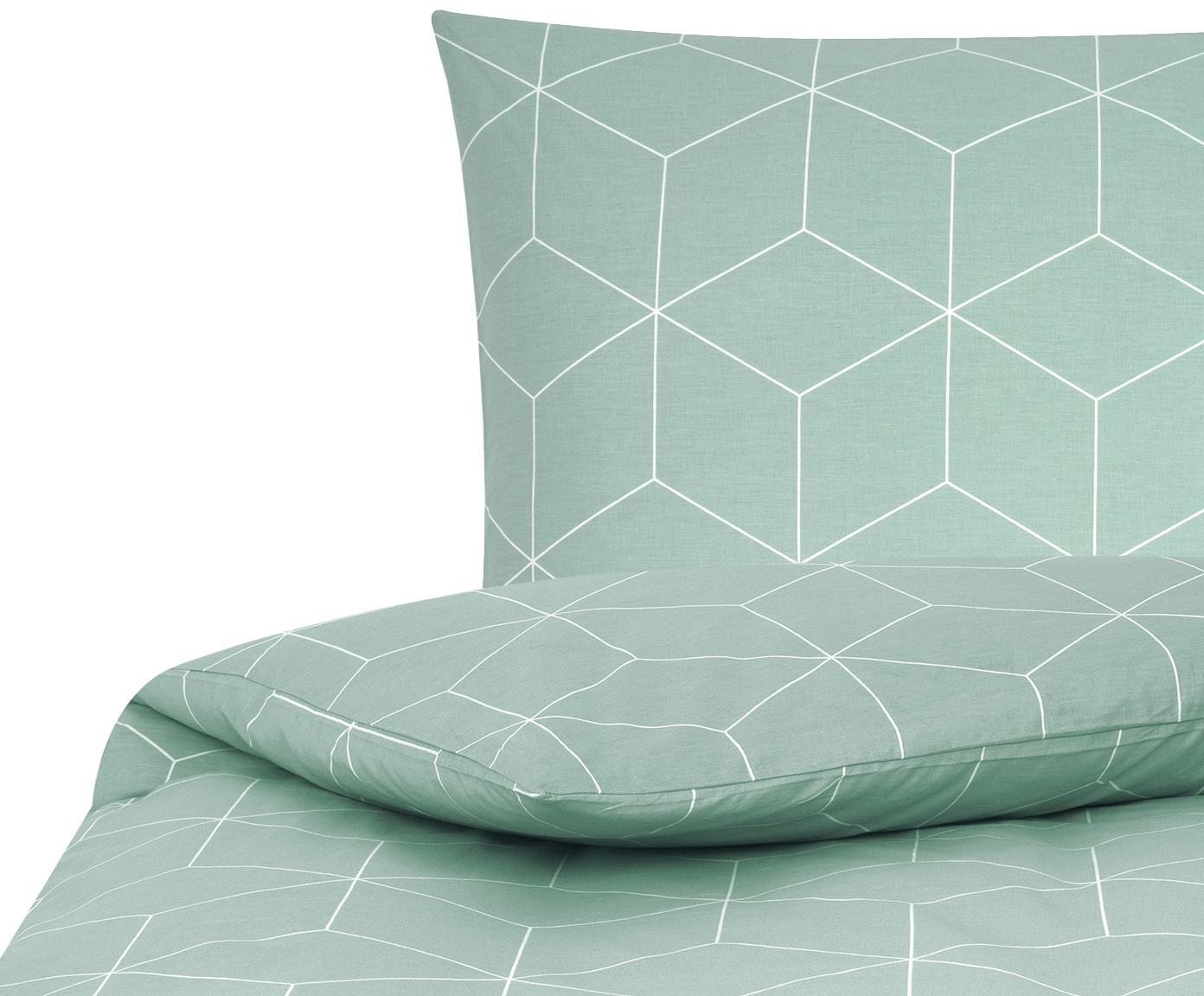Parure copripiumino in cotone ranforce Lynn, Tessuto: Renforcé, Verde menta, bianco crema, 155 x 200 cm