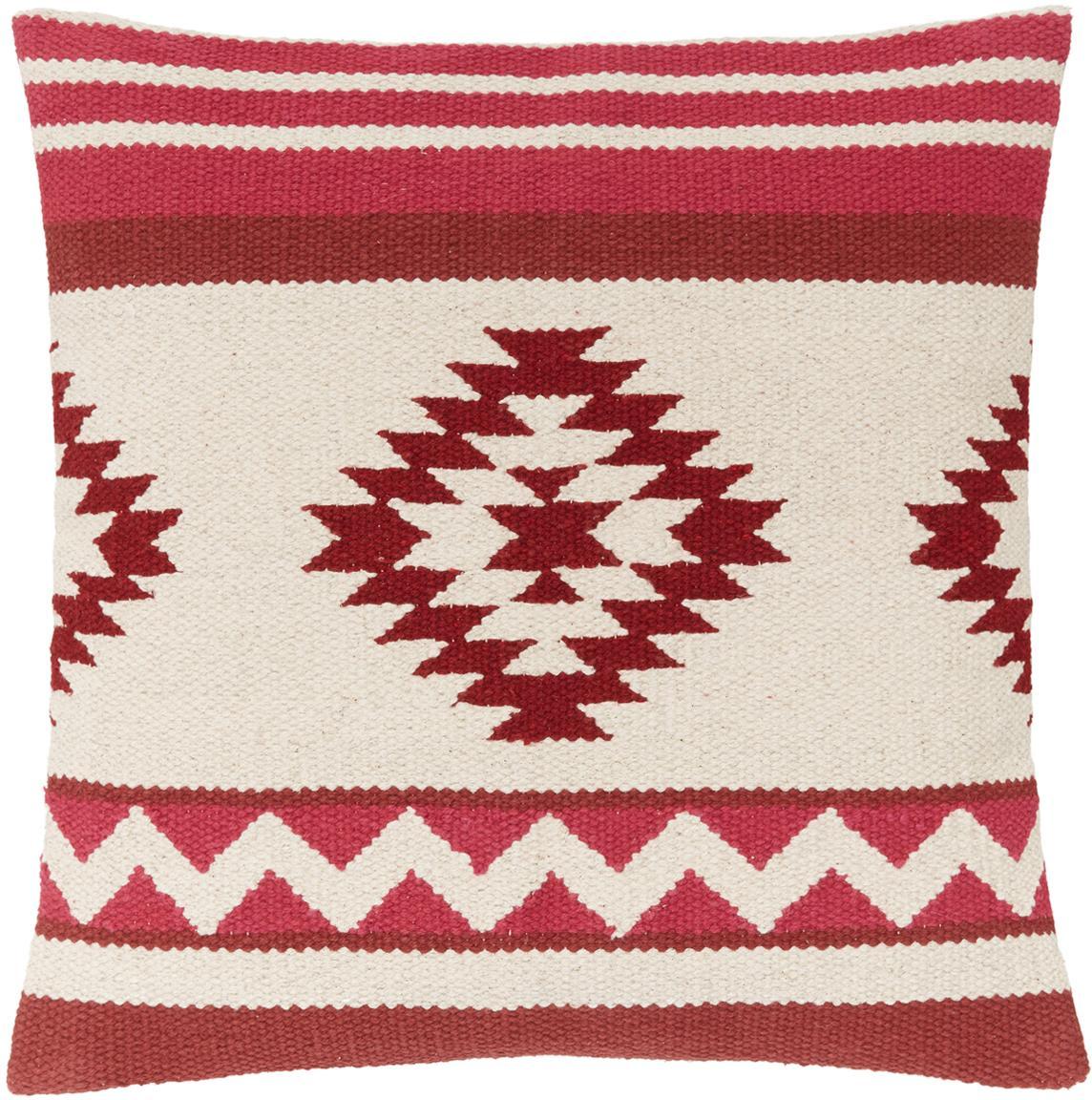 Gewebte Kissenhülle Tuca mit Ethnomuster, 100% Baumwolle, Beige, Hellrot, Dunkelrot, 45 x 45 cm