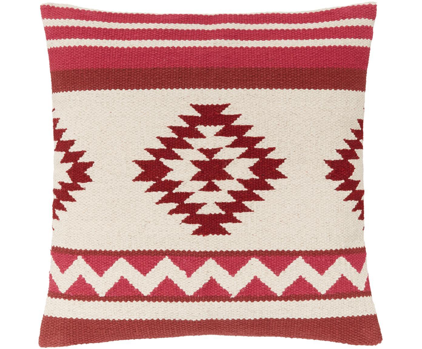 Federa arredo con motivo etnico Tuca, Cotone, Beige, rosso chiaro, rosso scuro, Larg. 45 x Lung. 45 cm