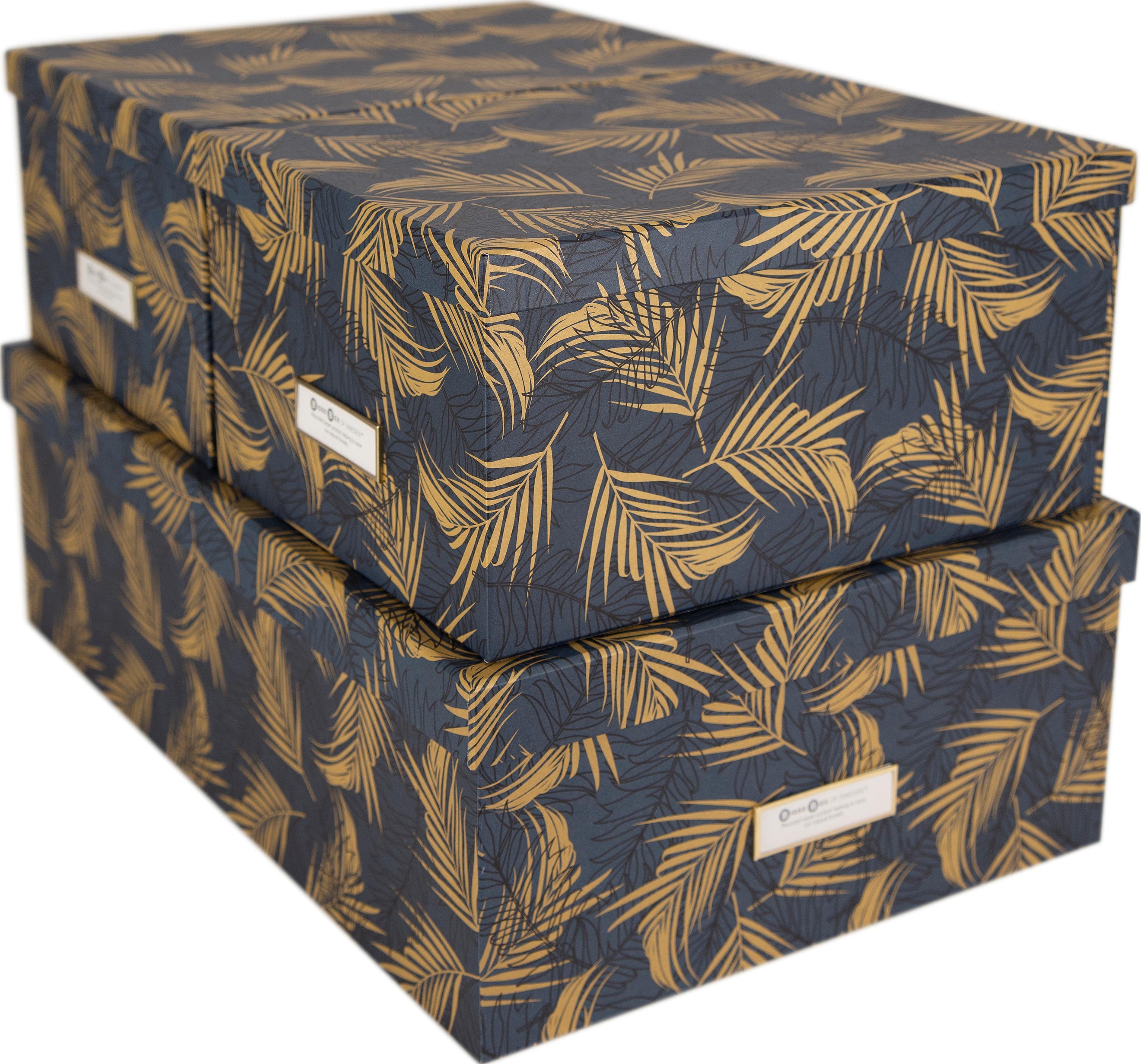Opbergdozenset Inge, 3-delig, Doos: stevig, gelamineerd karto, Goudkleurig, grijsblauw, Set met verschillende formaten