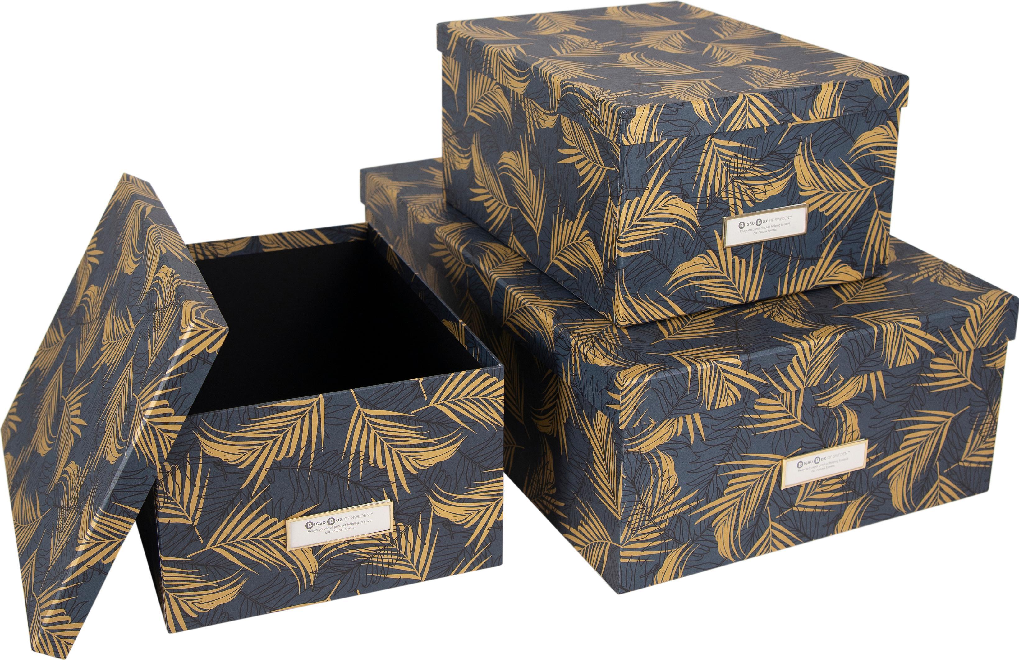 Set 3 scatole Inge, Scatola: solido, cartone laminato, Dorato, blu grigio, Diverse dimensioni