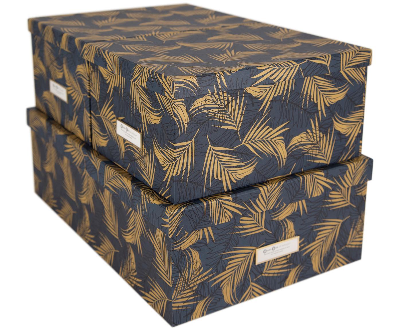 Aufbewahrungsboxen-Set Inge, 3-tlg., Box: Fester, laminierter Karto, Goldfarben, Graublau, Verschiedene Grössen