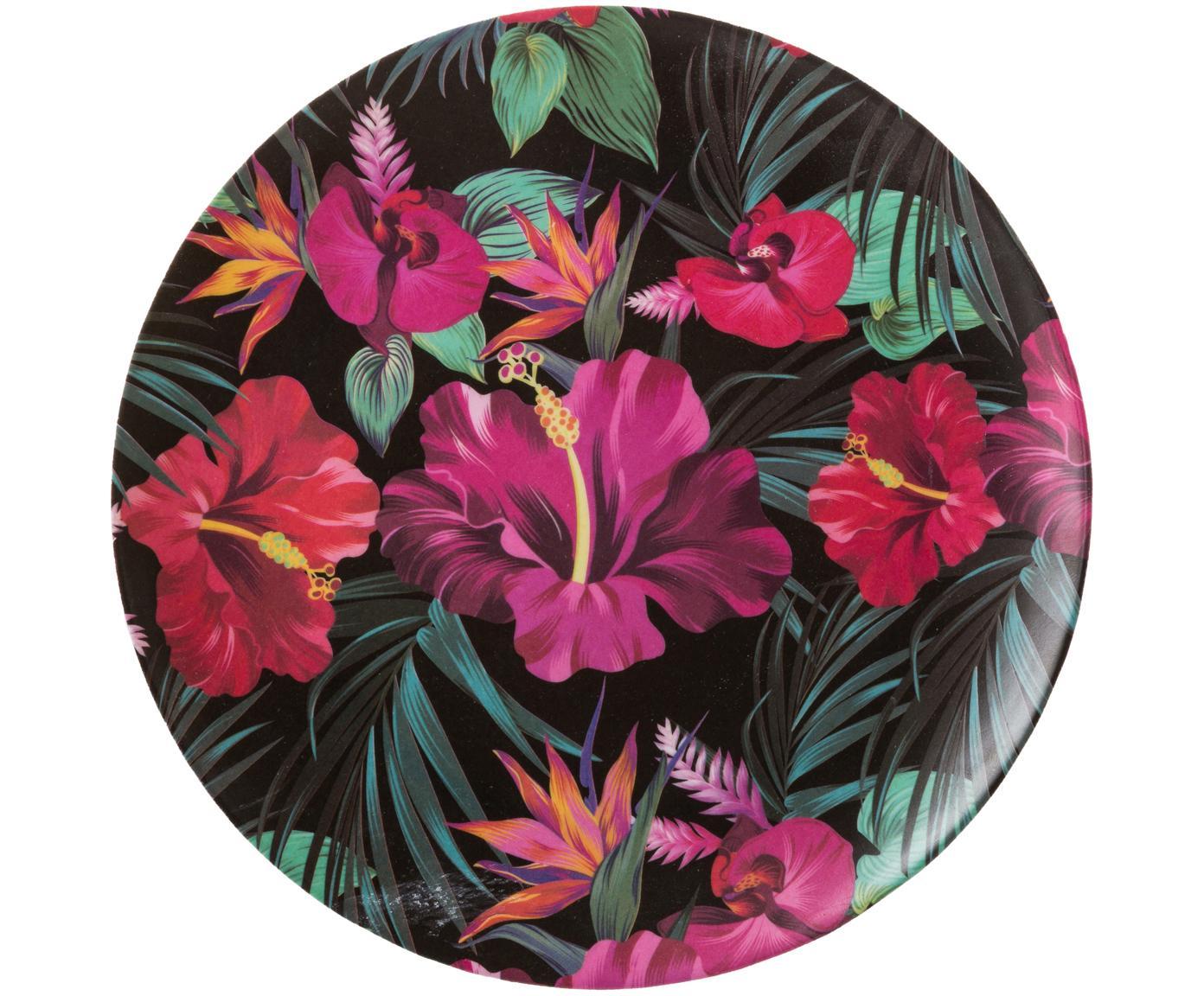Plato postre de bambú Tropical Flower, 55%fibras de bambú, 25%almidón de maíz, 15%melamina, Tonos verdes, tonos fucsias, rojo, blanco, Ø 20 cm