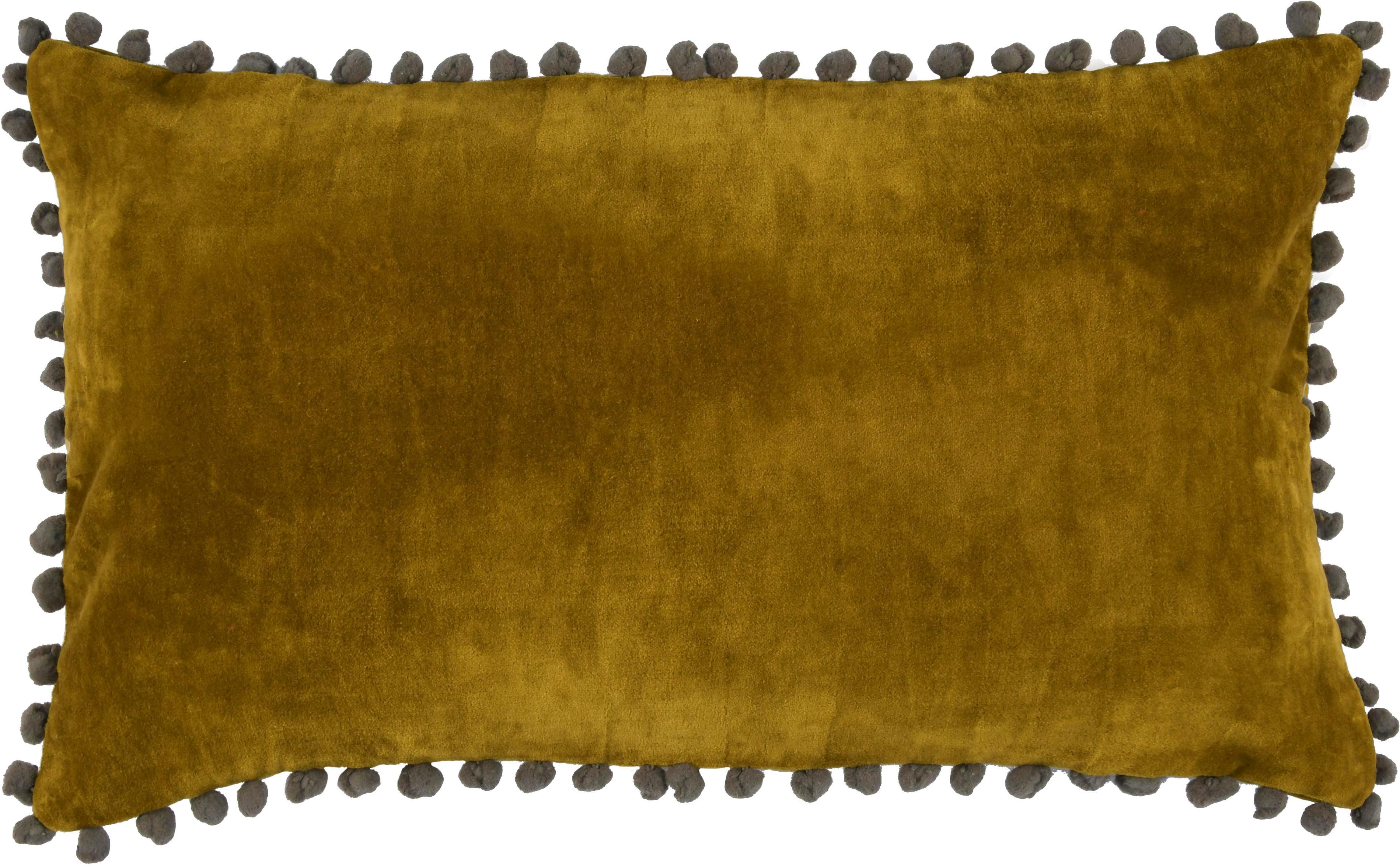 Federa arredo in velluto con pompon Avoriaz, 70% velluto di poliestere, 30% acrilico, Giallo senape, grigio, Larg. 30 x Lung. 50 cm