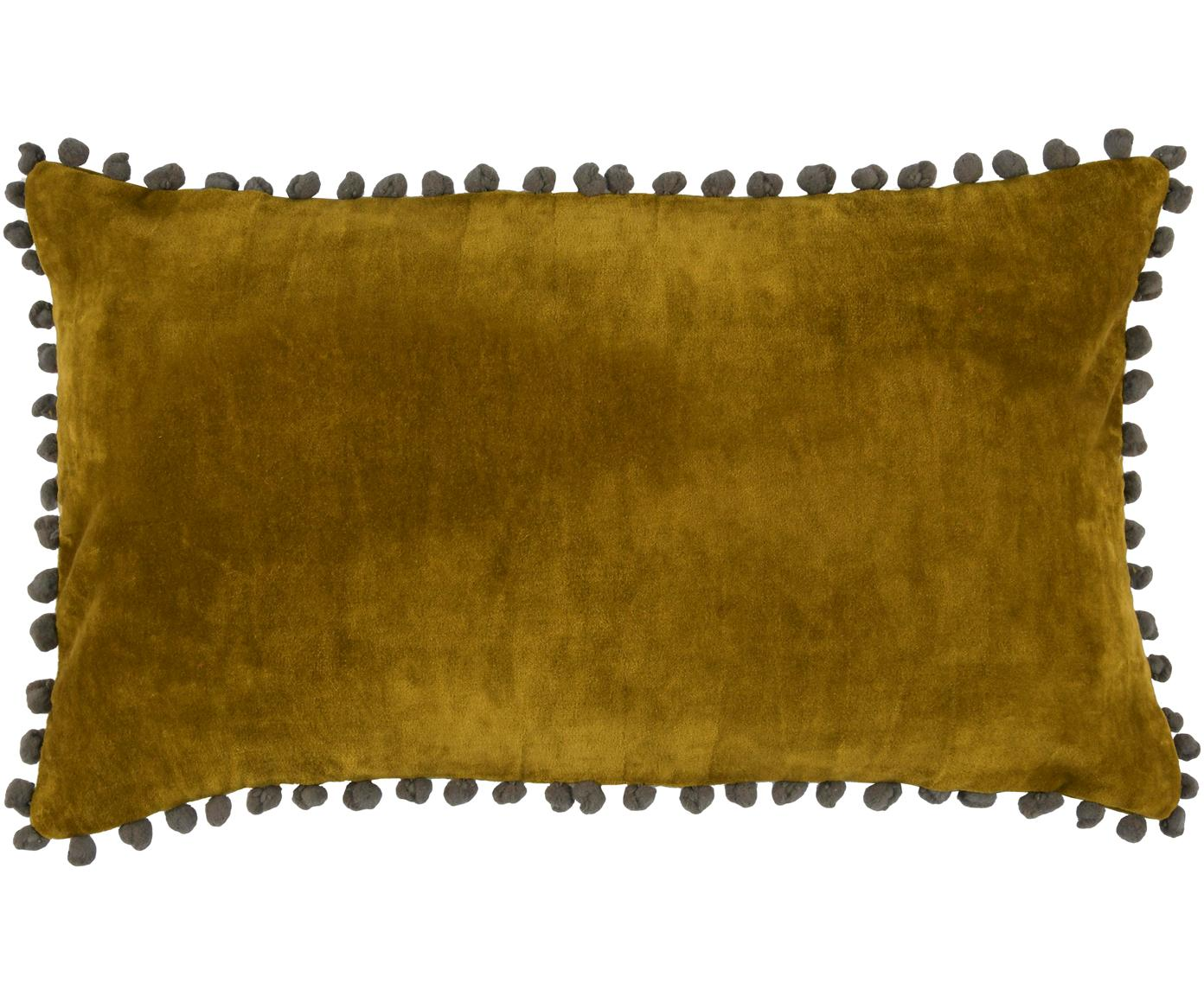 Samt-Kissenhülle Avoriaz in Dunkelgelb mit Bommeln, 70% Polyestersamt, 30% Acryl, Senfgelb, Grau, 30 x 50 cm