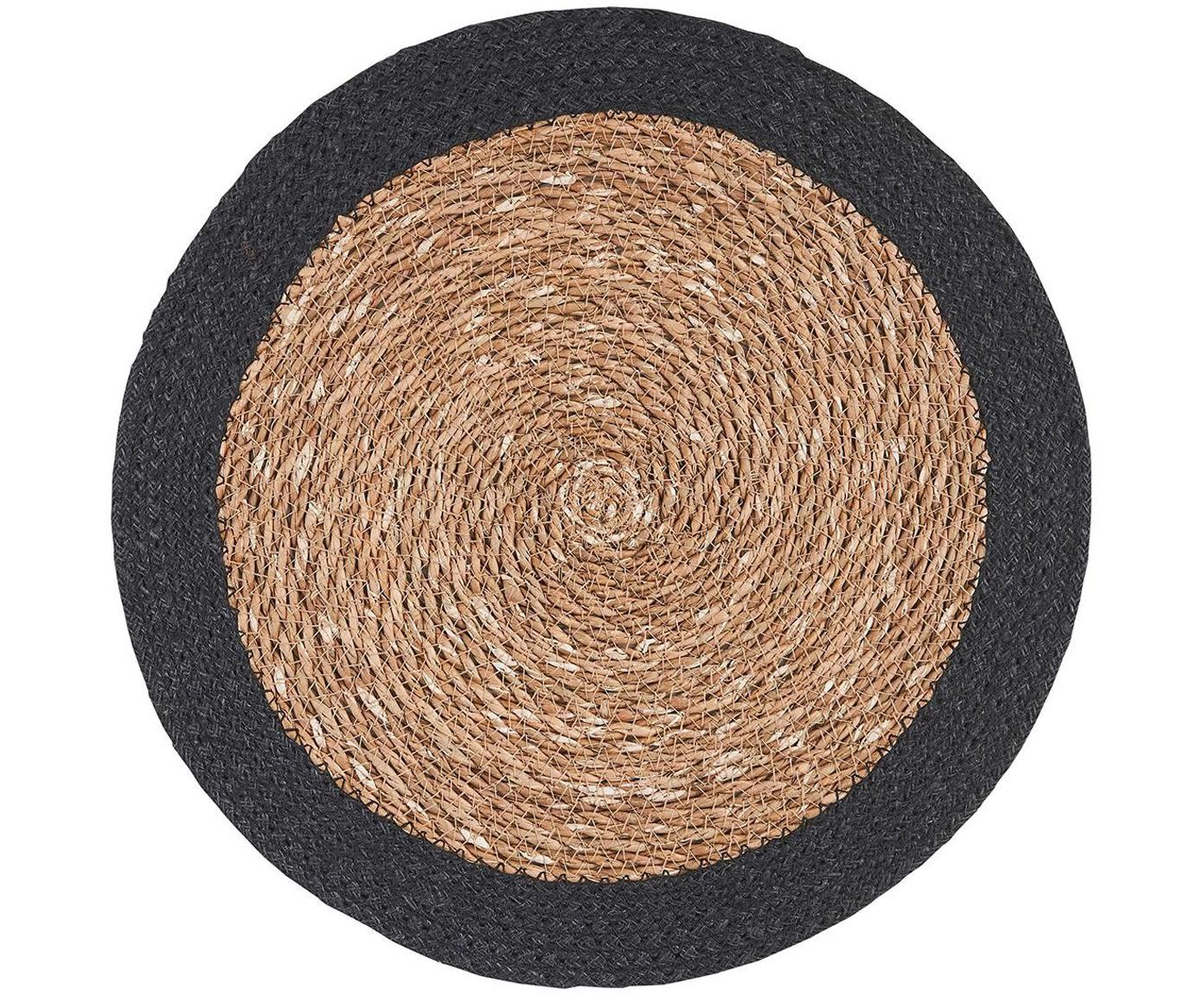 Ronde zeegras placemats Sauvage, 2 stuks, Zeegras, jute, Beige, zwart, Ø 38 cm